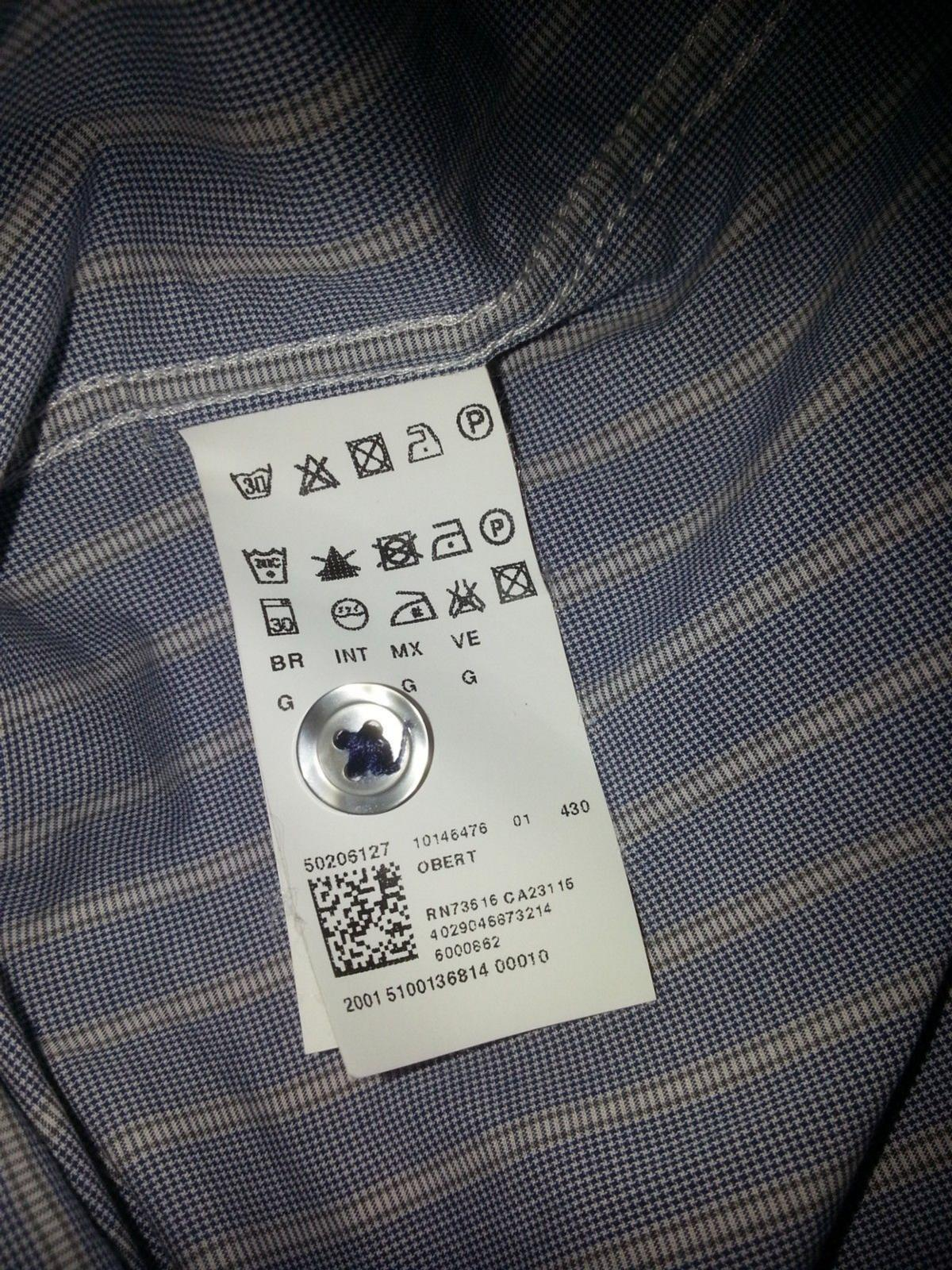 """In good condition this genuine men HUGO BOSS pinstripe long sleeves shirt  The label says size """"L"""", but please have a look at the last picture for accurate measurement  Recently cleaned and ready for the next lucky owner  From a pet and smoke-free home  """"Please have a look at my other high quality items for sale"""""""