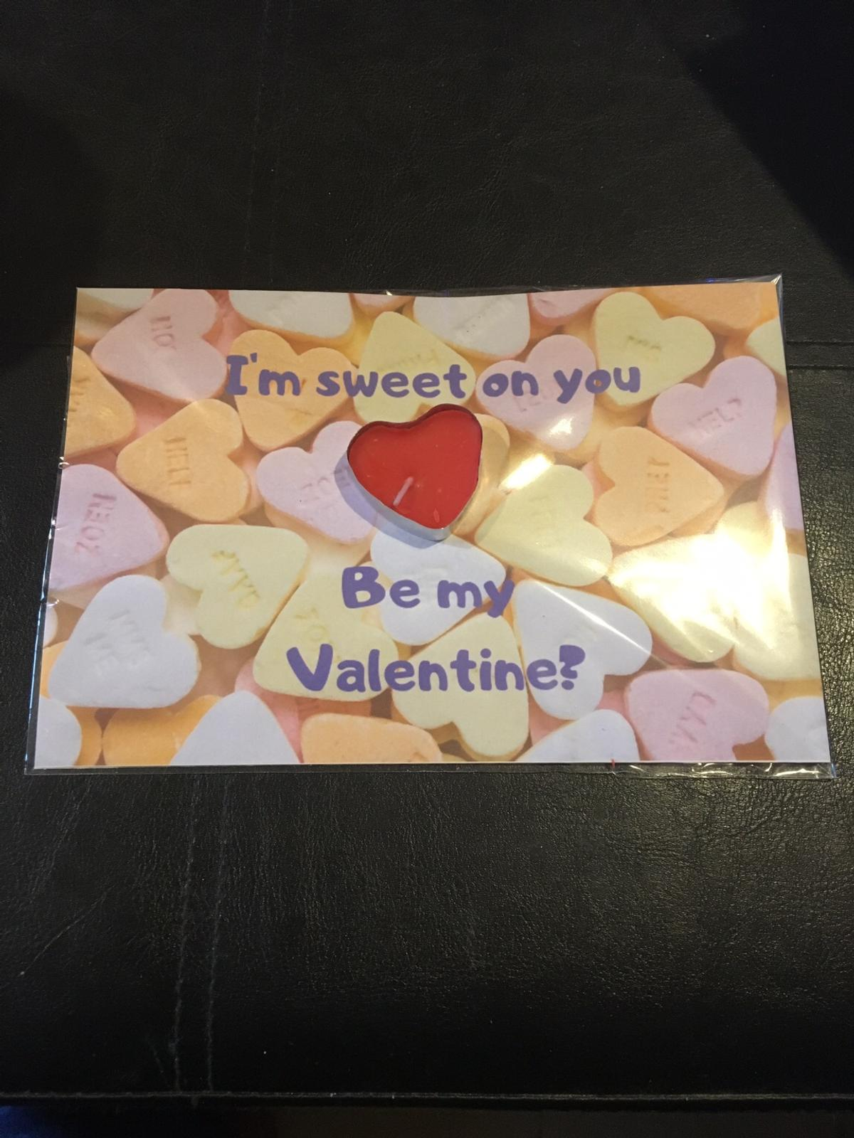 """A5 sized card printed with the message """"I'm sweet on you Be My Valentine?""""  A heart shaped red tea light candle is mounted on the card and the card is wrapped in cellophane  Postage £1 on top to cover second class Royal Mail - payment for posted items to be made thru Bank Transfer"""