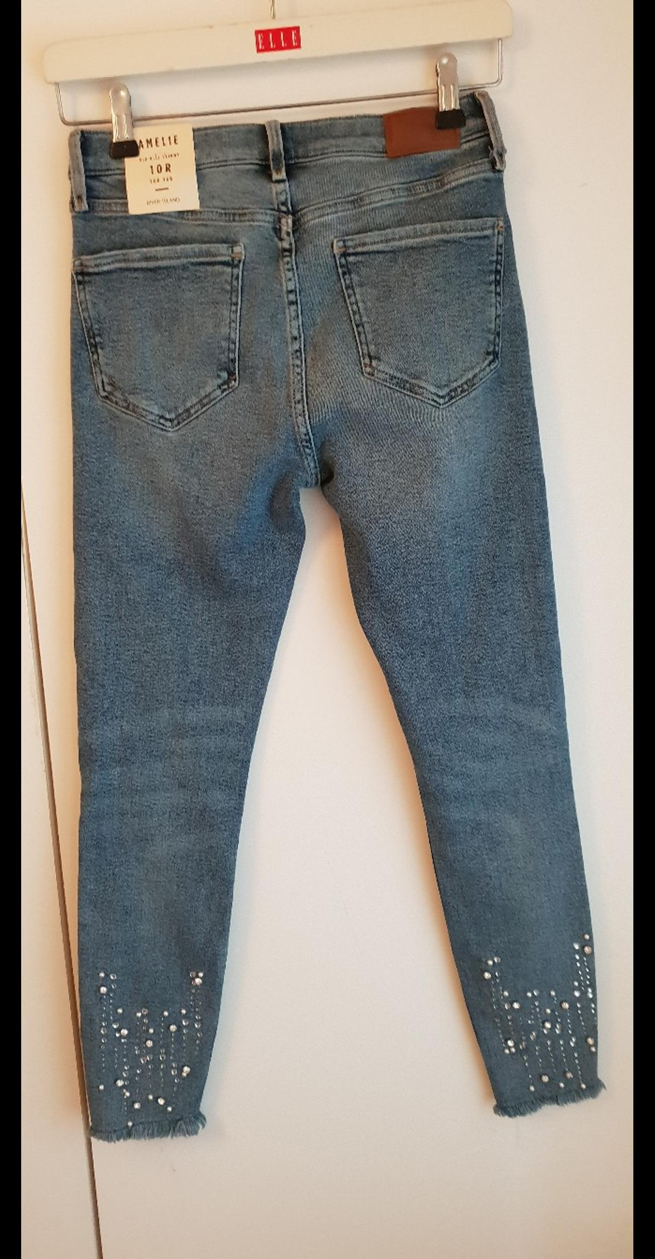 Blue denim jeans with sewn on sparkles brand new from River Island paid £45 Sarn Bridgend
