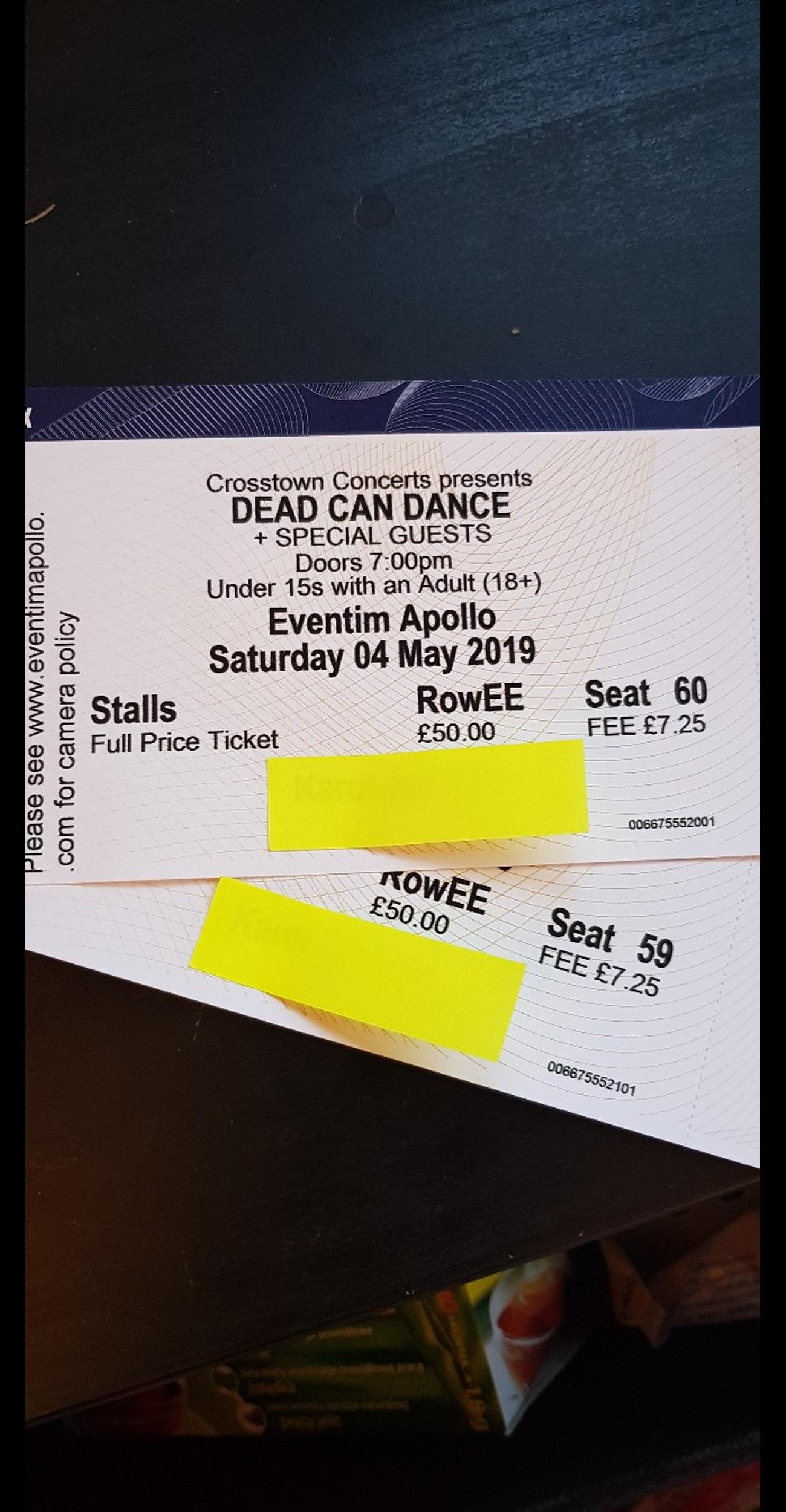 2 tickets for Saturday 04 May 2019 Dead Can Dance + Special Guests £90 each