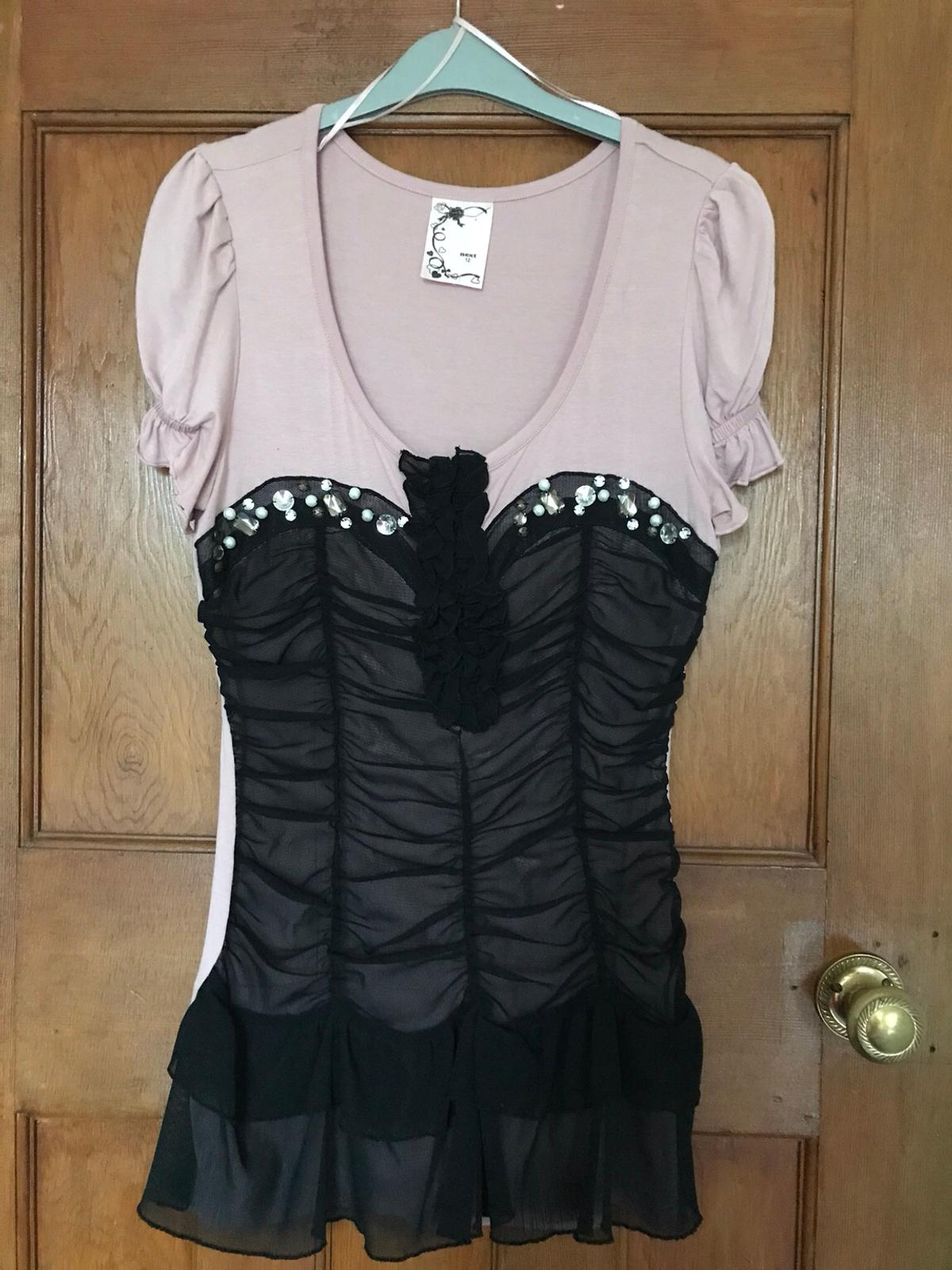 Pink& black top size 12 Never worn! Collect only from Hazel Grove Stockport