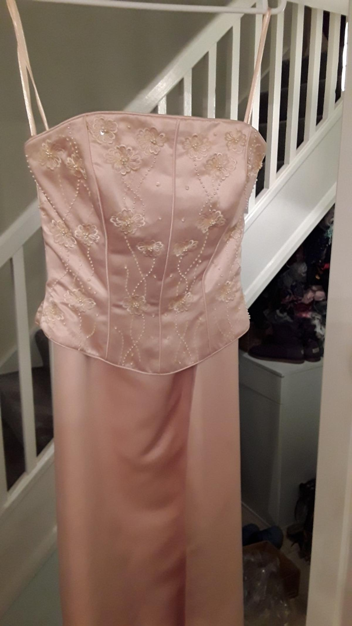 size 10 colour sand bridesmaid or prom dress separate bodice a line skirt