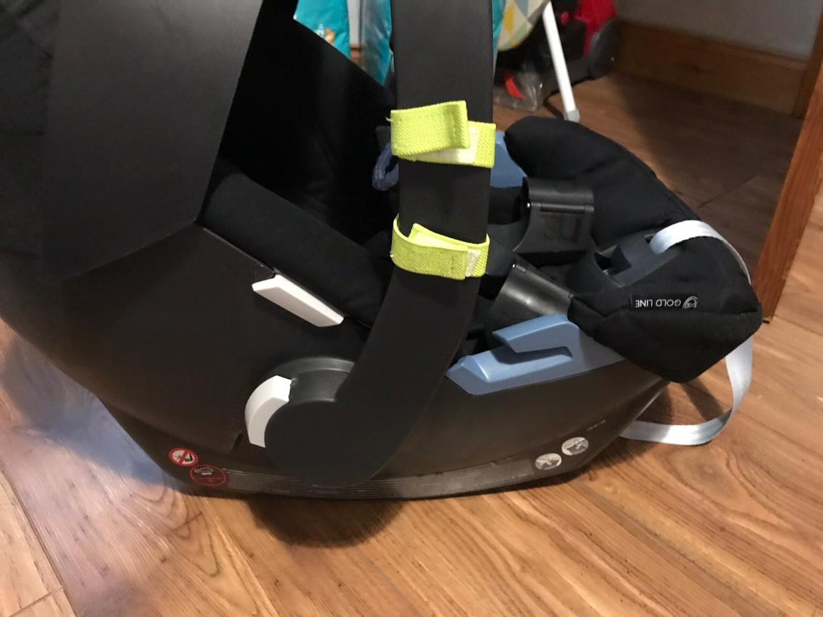 Cybex Aton car seat in black. With newborn insert, car seat adapters and I will include a toy that wraps around the handle. Car seat has been used for 4-5 months in excellent condition. Viewing welcome Read less