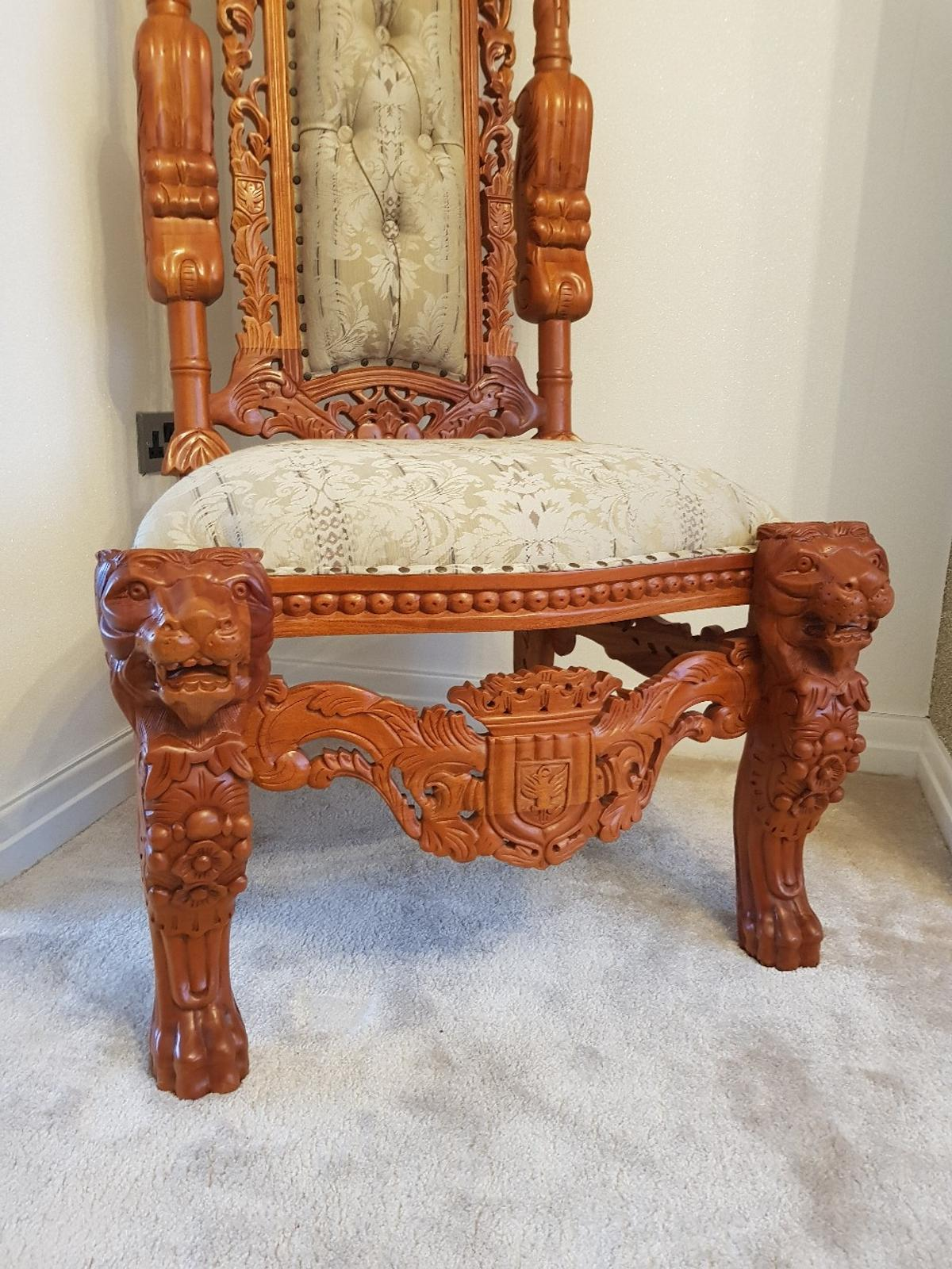 Super Stunning Wooden Throne Chair In Bl9 Limefield For 300 00 Beutiful Home Inspiration Ommitmahrainfo