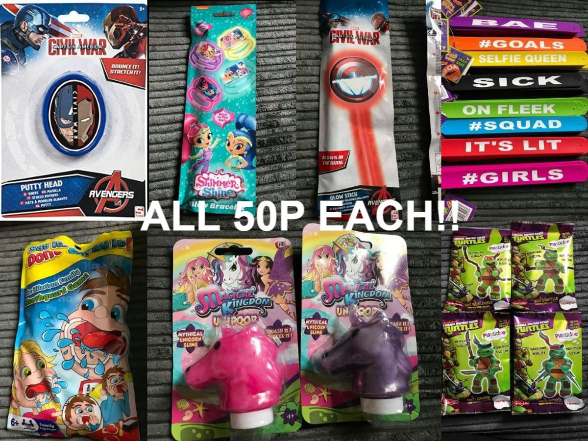 Brand new plenty of each available 50p each. discounts can be done for multiple items to help with parties etc xxx collect fy1 of Bloomfield road x