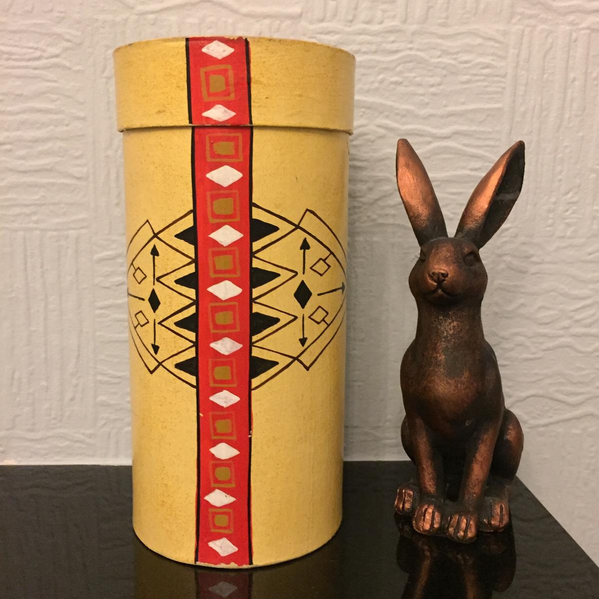 "Decorative Cylindrical Storage Container with lid  Handcrafted in the Philippines and a good 20 years old....bought on our travels and now ready for a new home....  Height 10"" Diameter 5""  Collection from Birkenshaw, BD11"