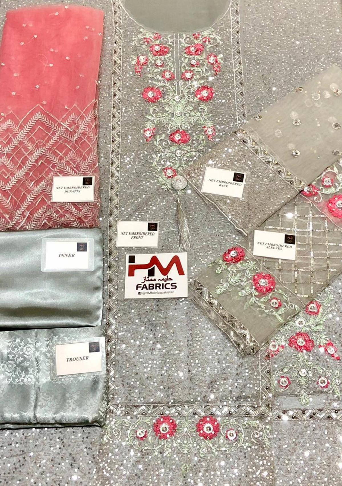 Latest collection  Brand : Maria B *Wedding Wear 2019* Article : *Wedding Couture MC-008* Fabric : Net,Satin & Jamawar This Design includes:  *Fully Sequence Embroidered & Handwork Front Gala Daman With Handwork Rewali*  *Sequence & Handwork Embroidered Back*  *Sequence Embroidered Handwork Sleeves*  *Embroidered Net Duppata Pallu Style*  *Jamawar Trouser Along With Satin Silk Inner*  ONLY £70 full stitch