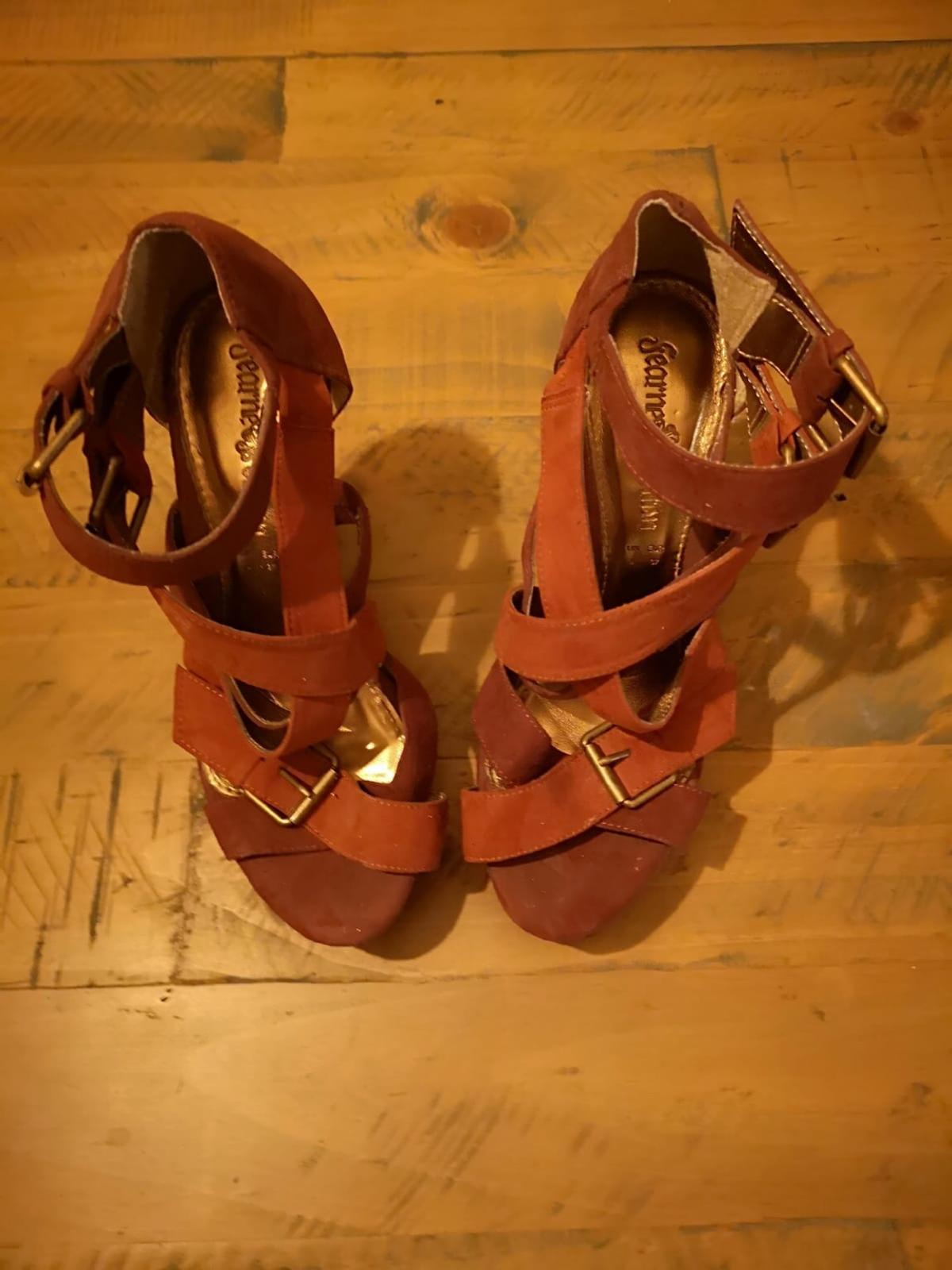 Brown , tan and gold strappy platform heels Worn once in excellent condition  Suede material