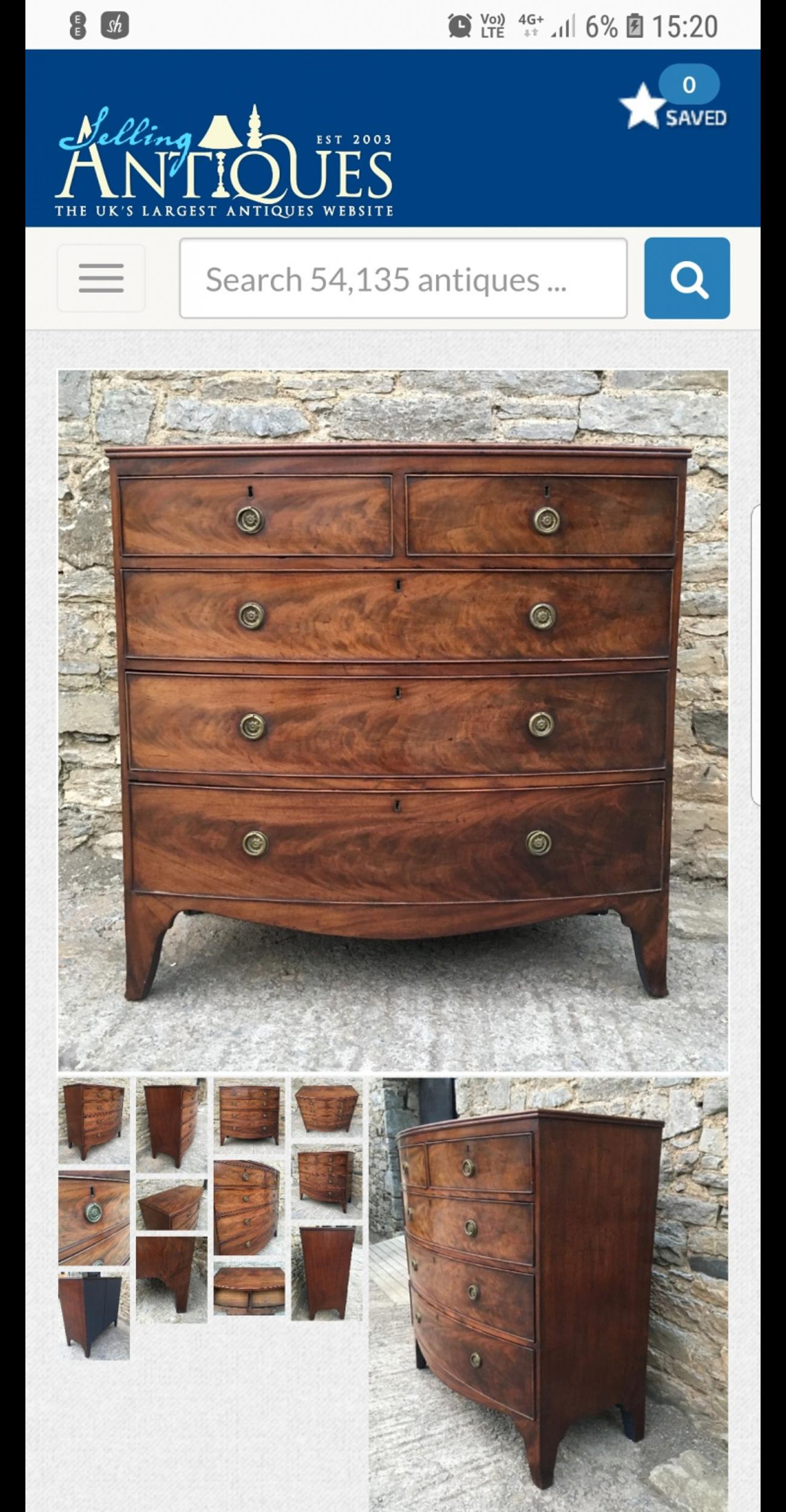 stunning beautiful extremly old bow fronted drawers