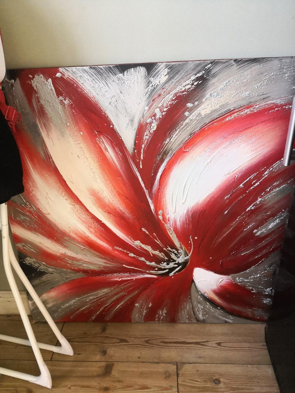 Flower Red and silver large
