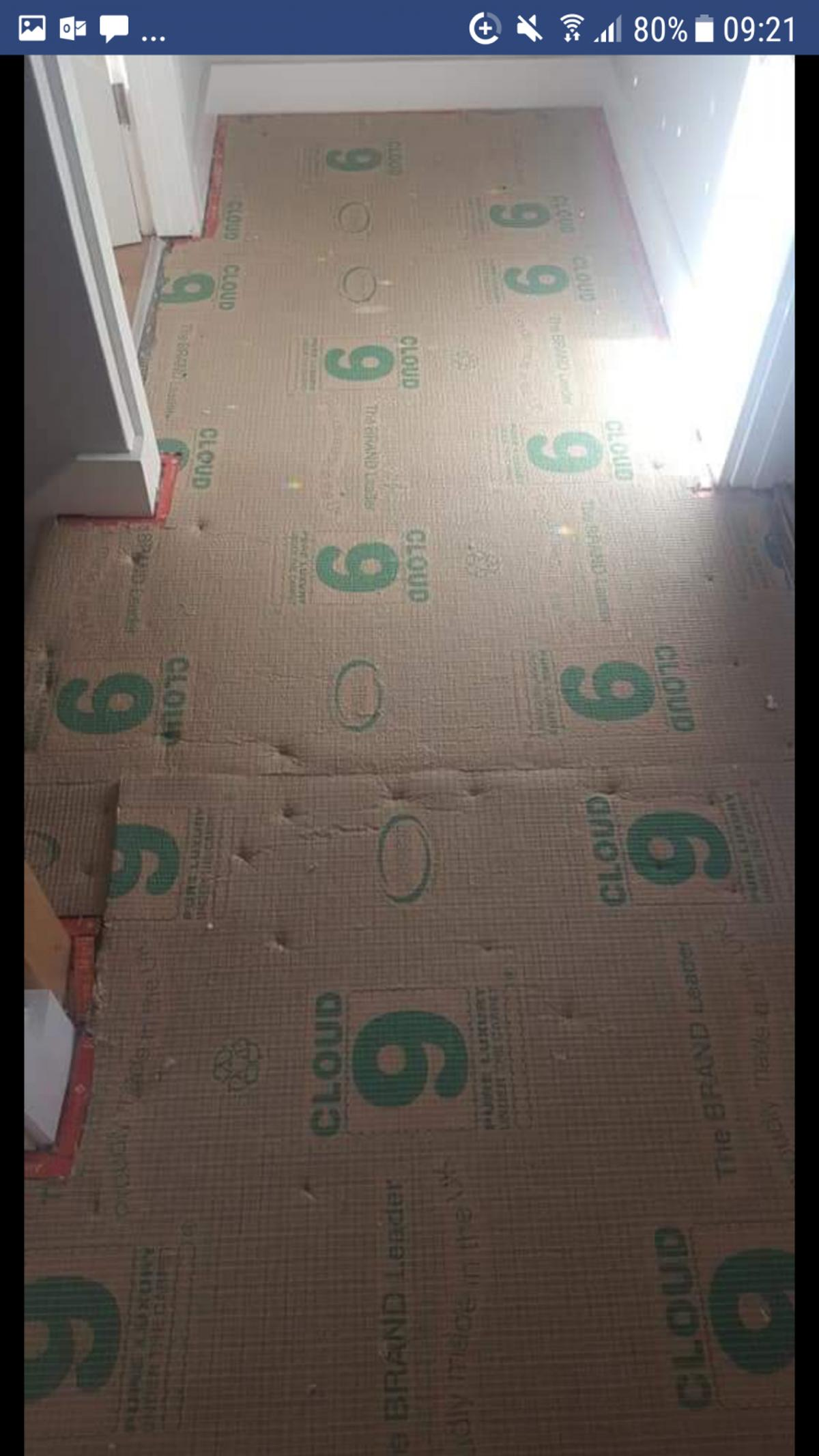 **Carpet for sale** *Includes underlay and gripper rods*  £200 *BRAND NEW, NEVER LAID* 4m x 3m carpet with underlay, gripper rods £50 *USED* hall and stairs (down for 3 weeks) Full details below  Pet Free and smoke free  Scopious Rhiana - beautiful, thick carpet. Cloud 9 11mm - highest quality underlay Gripper rods  *USED* (see pics)  Stairs (10 steps) 81cm (w) x 25cm (d) x 18cm (h)  Quarter landing 85cm x 85cm  2 larger bull nose steps (see pics)  Landing 3.4m x 1.07m (at th
