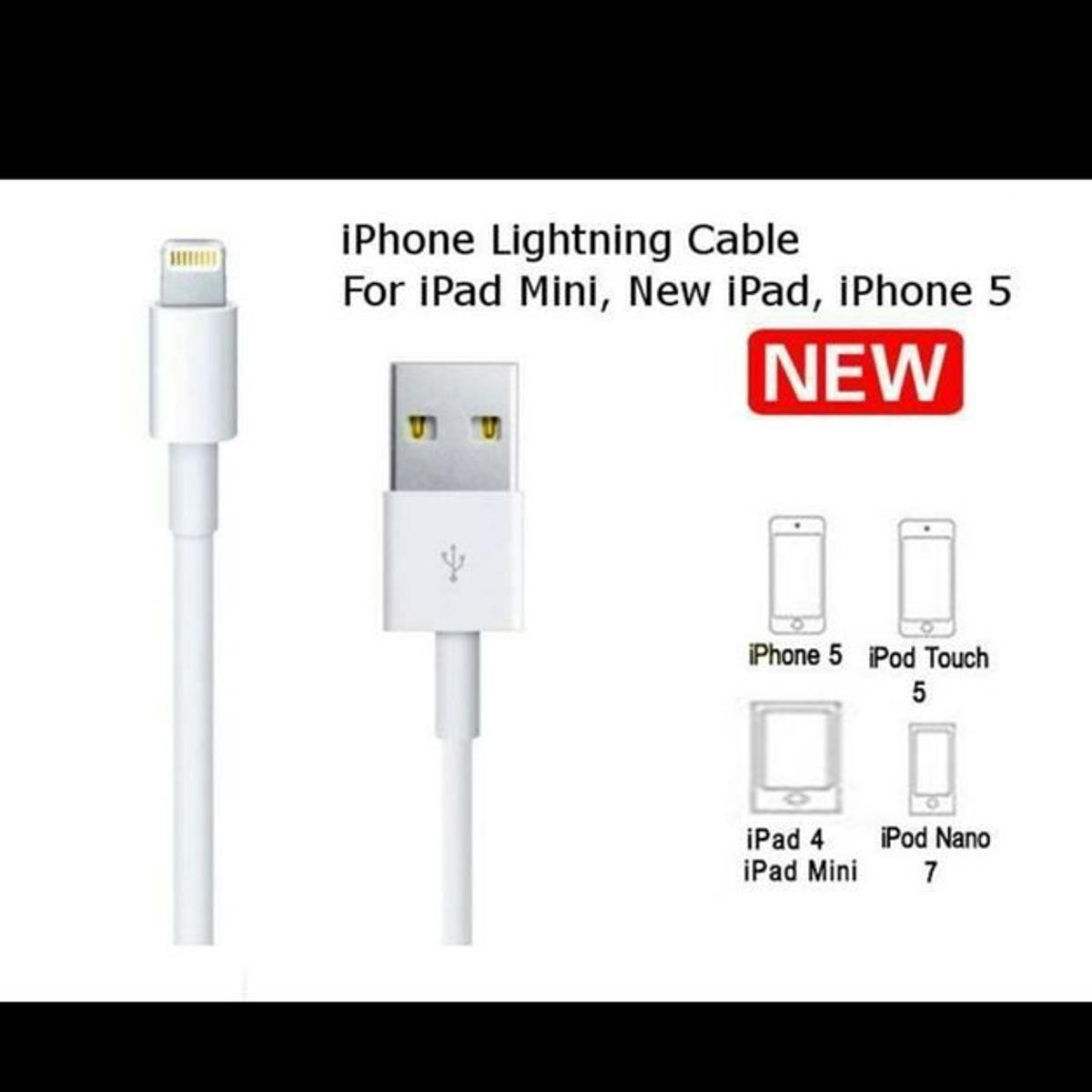 Brand New Pack of Lightning to USB Cable for iPhone, iPad and iPod.Use the Lightning to USB Cable to charge and sync your iPhone, iPad, or iPod with Lightning connector to your Mac or Windows PC.This USB 2.0 cable connects your iPhone, iPad, or iPod with Lightning connector to your computer's USB port for syncing and charging or to the USB Power Adapter for convenient charging from a wall outlet.Supports ALL IOS Systems including all IOS version.Compatible with all latest iPhones.