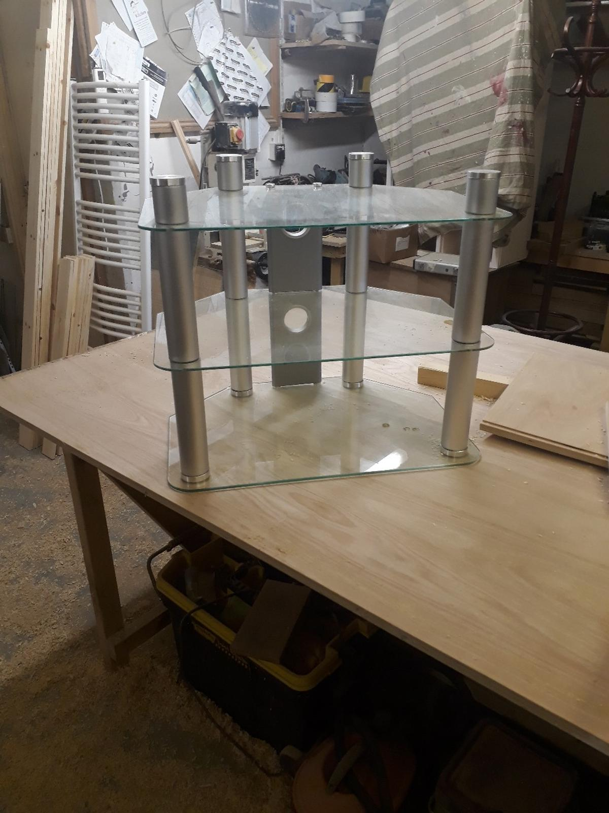 good condition glass tv stand all together