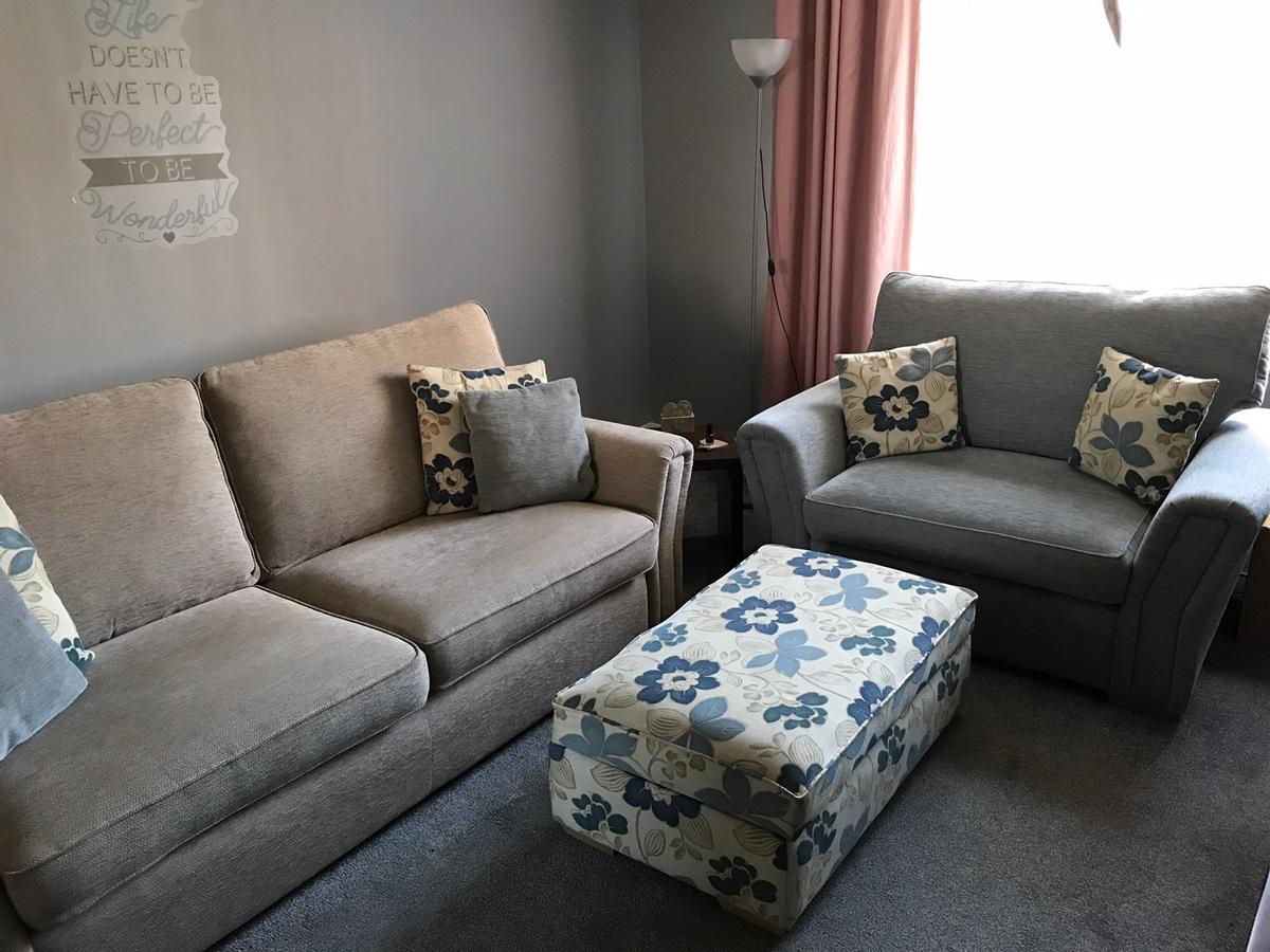 4 seater settee (Width 229.5cm x Length/Depth 96cm x Height 99cm), snuggle chair which is a wide chair can fit 2 people on (Width 144cm x Length/Depth 96cm x Height 99cm) and an ottoman storage footstool (Width 99cm x Length/Depth 58cm x Height 52cm)  Reversible seat & back cushions. Seat cushions constucted using durable cold-cure foam. Back cushions filled with soft & comfortable fibre.  May deliver for a charge.
