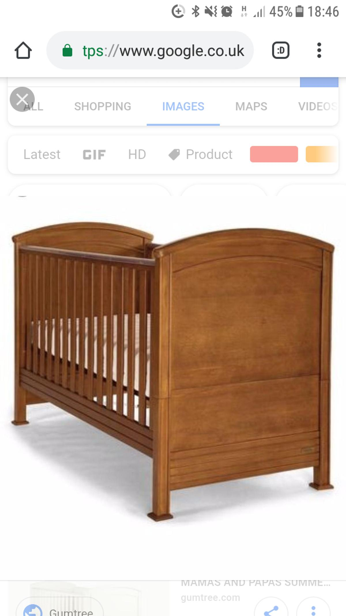 mamas and papas cot bed all screws etc with bed and origjnal assembly instructions. excellent condition