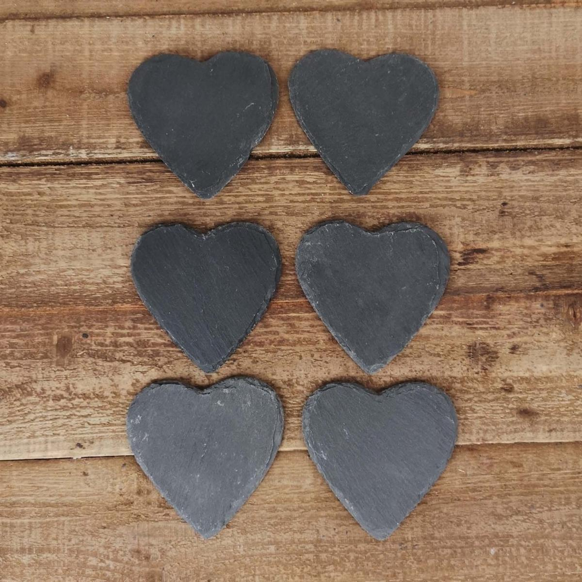 * VERY HIGH QUALITY LUXURY / BRAND NEW / FREE ROYAL MAIL DELIVERY !!! . * CHARMING / STYLISH / PRETTY / FABULOUS / SHABBY CHIC DESIGN & LOOK . * IDEAL FOR HOME DECOR - USE / B & B DECOR - USE / CAFE DECOR - USE / E.T.C. * FEATURES , ( Set of 6 natural slate love heart shape coasters feature anti slip pads to protect your table surfaces and are the ideal addition when complimenting various table settings.Made from natural slate Set of coasters Love Heart Shaped Heat resistance Anti-slip rubber pads on the bottom Dimensions10 x 10 x 0.5 cm MaterialNatural Slate ). * GREAT PRICE. * BANK TRANSFER ACCEPTED.