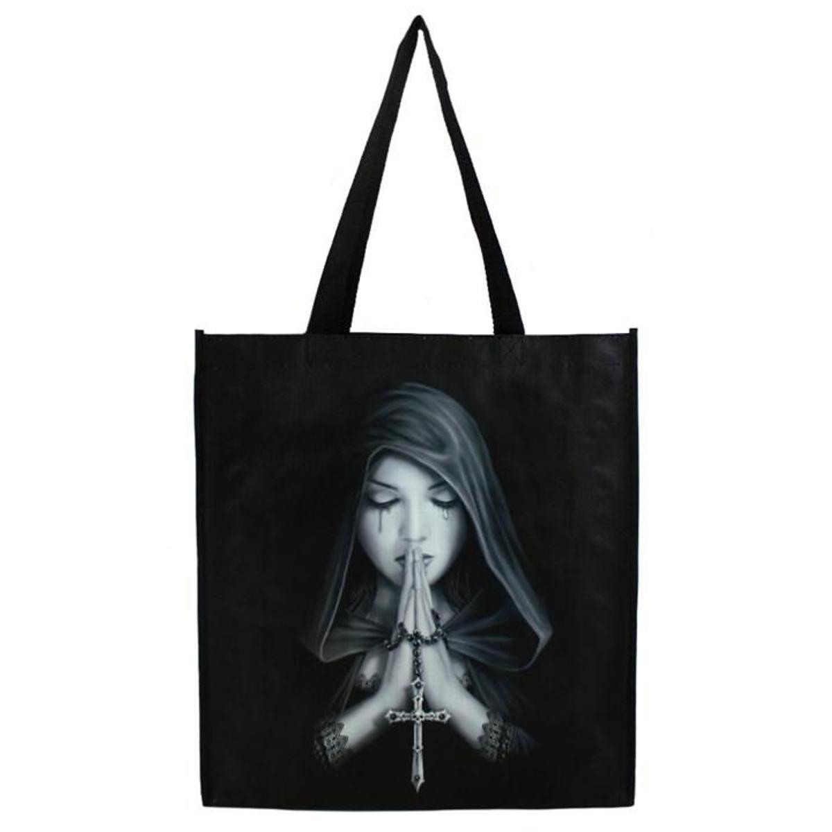 Gothic prayer shopping bag £4.99  This shopping bag features the beautiful Gothic Prayer artwork by Anne Stokes. Showcasing the main artwork on the front and a continuing design on the side.  H65.5cm X W35cm X D9cm  This bag is made from woven polypropylene.  #ad