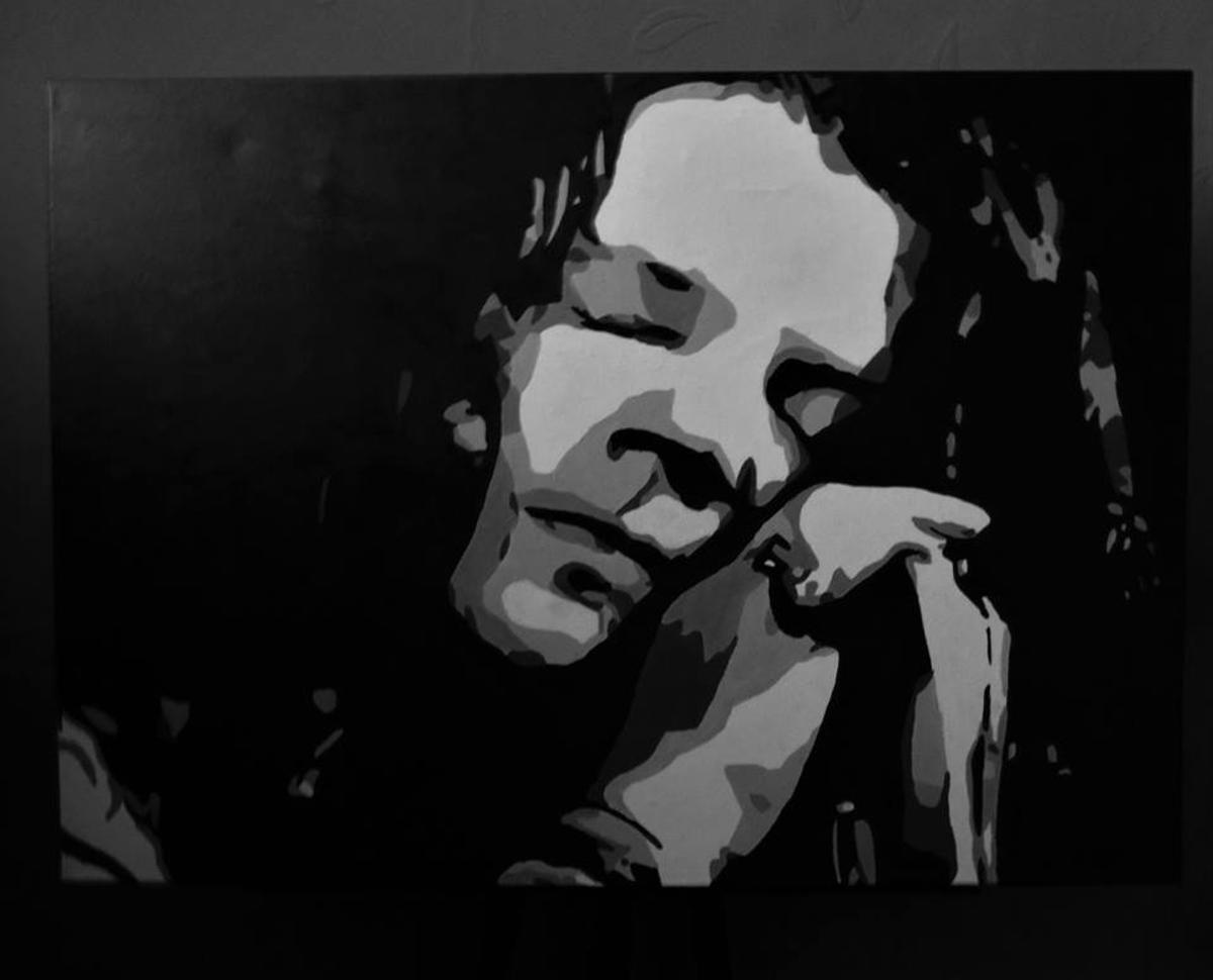 For Sale By Artist. Hand painted portrait of Janis Joplin which is in acrylic on canvas. This piece has been featured as a centrepiece in exhibition and is signed by the artist, Shan B.