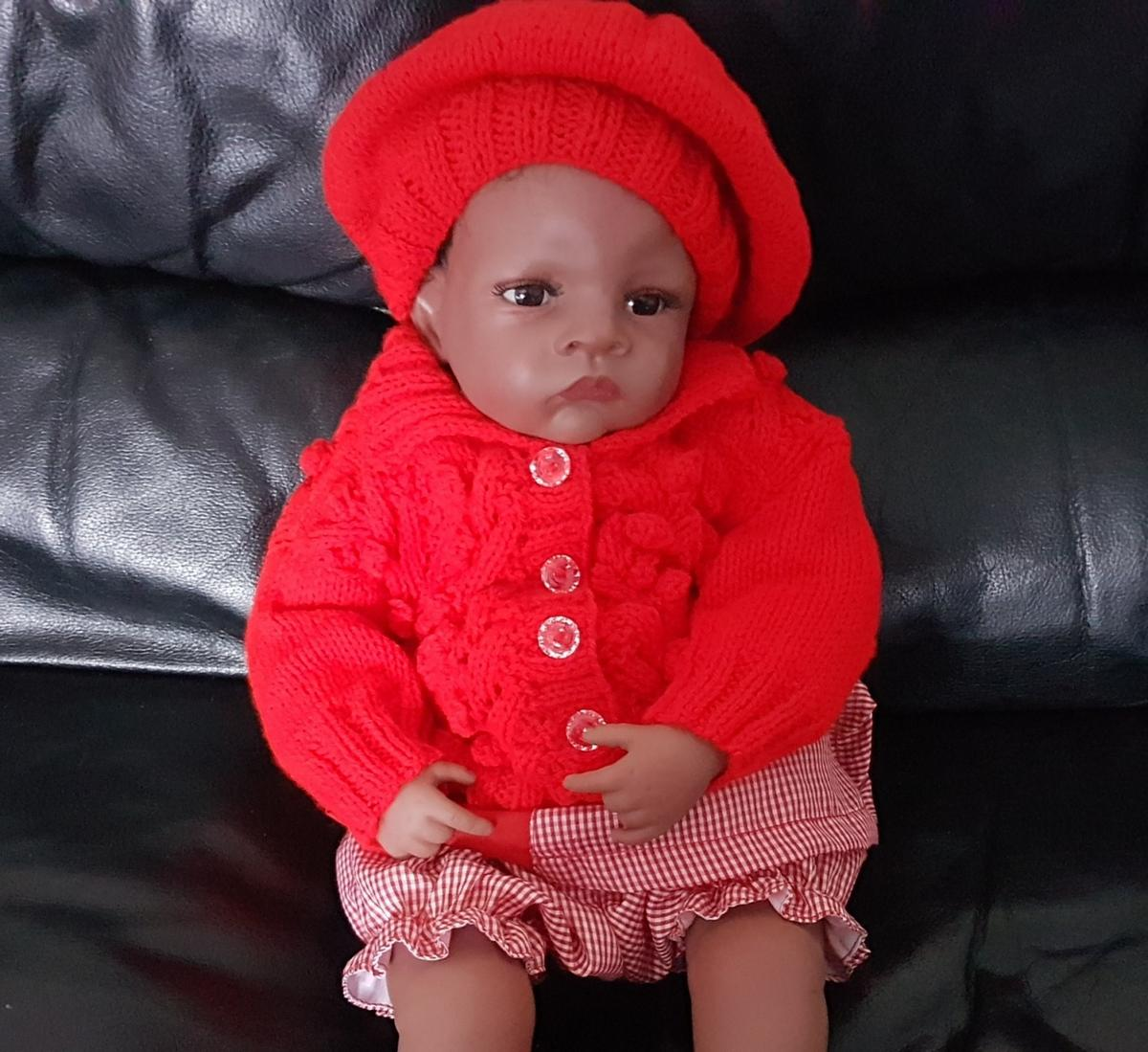 """ONLY BERET AT 4.50 Knitted in double knit .you can order as a set with bobble cardigan if wanted at £13.50 look at photos for coat.DOLL NOT INCLUDED CHECK OUT MY DESIGNS PLEASE ASK WHAT YOU ARE LOOKING FOR TO SEE IF I CAN HELP CHEST 20/22"""" LENGH 11"""" SLEEVE 7"""" NO TUMBLEDRY.THIS ITEM IS HAND KNITTED BY MYSELF IN A SMOKE AND PET FREE HOME.OPEN FOR CUSTOM BABY ORDERS MAY BE A WAITING LIST DEPENDING ON MY ÒRDERS AT THE TIME SO ORDER EARLY.POSTAGE WILL BE EXTRA COST PREFER COLLECTION"""