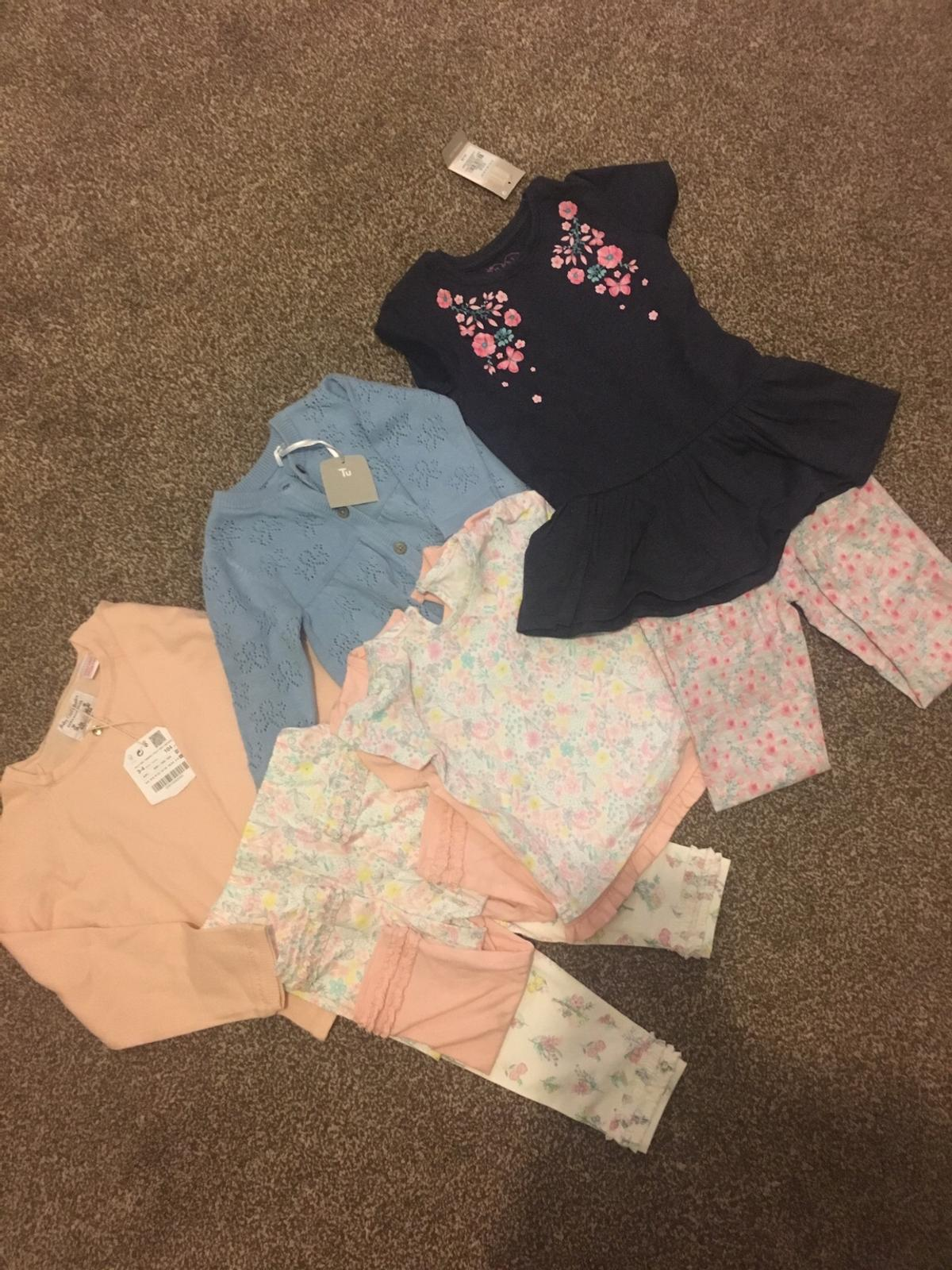 New with tags. Zara cardigan- size 3/4 F&F cardigan- up to 3 months Primark dress and leggings set- 24-36. NEW WITHOUT TAGS George leggings 6-9 months. George T-shirt's 0-3 months. Next tights- 0-6 months  Pet free/smoke free home. Negotiations welcome.