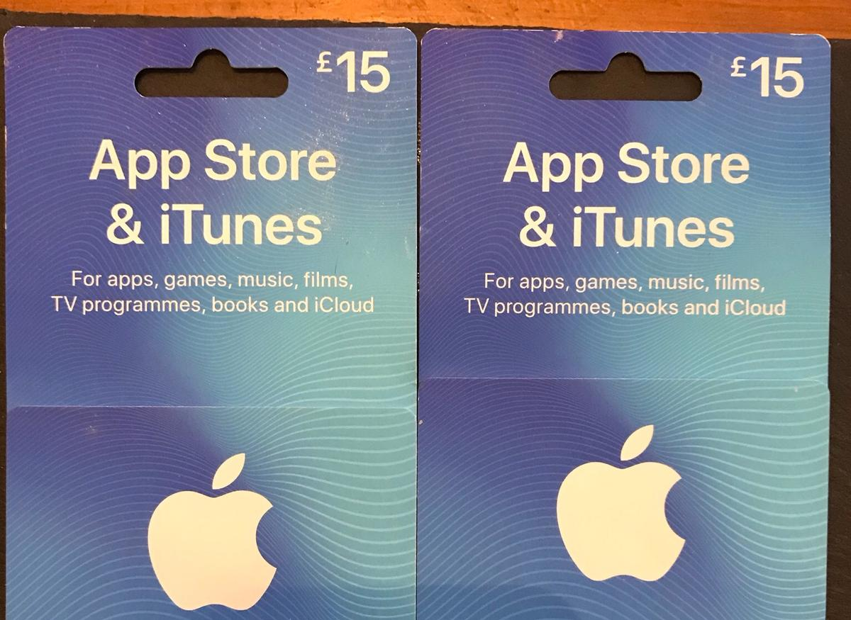 2 x £15 I tunes/App Store gift cards