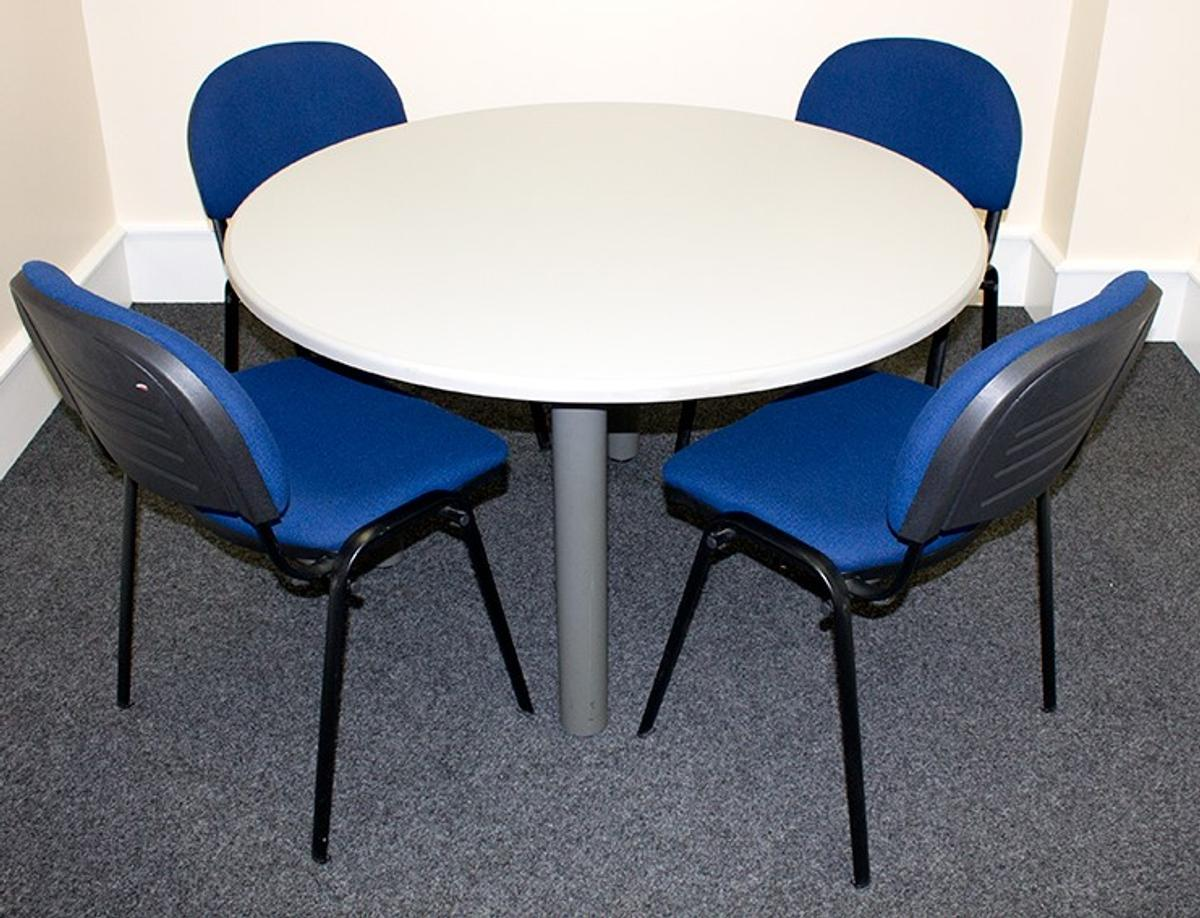 Round Office Table With 4 Stackable Chairs In Ashfield For