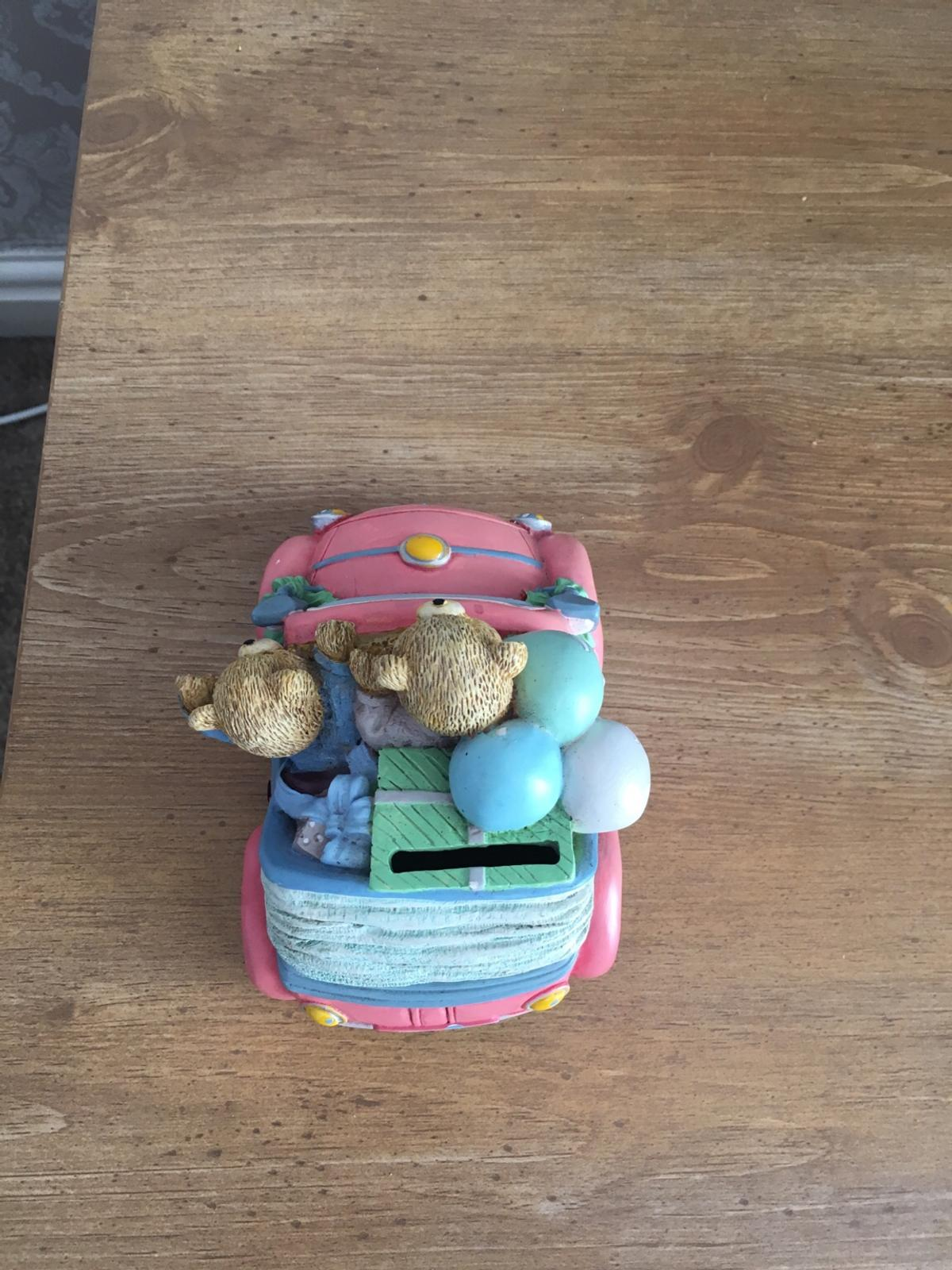 Cute teddy bear in pink car money box in WS10 Sandwell for £2 00 for