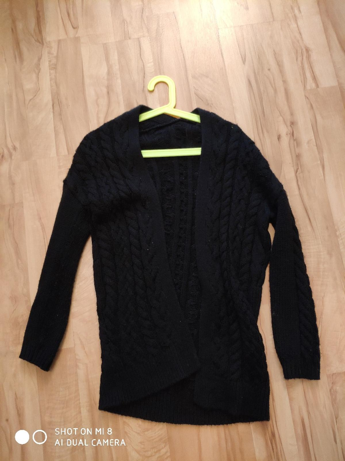 newest 0a8d1 fbacd Schwarzer Cardigan, lang