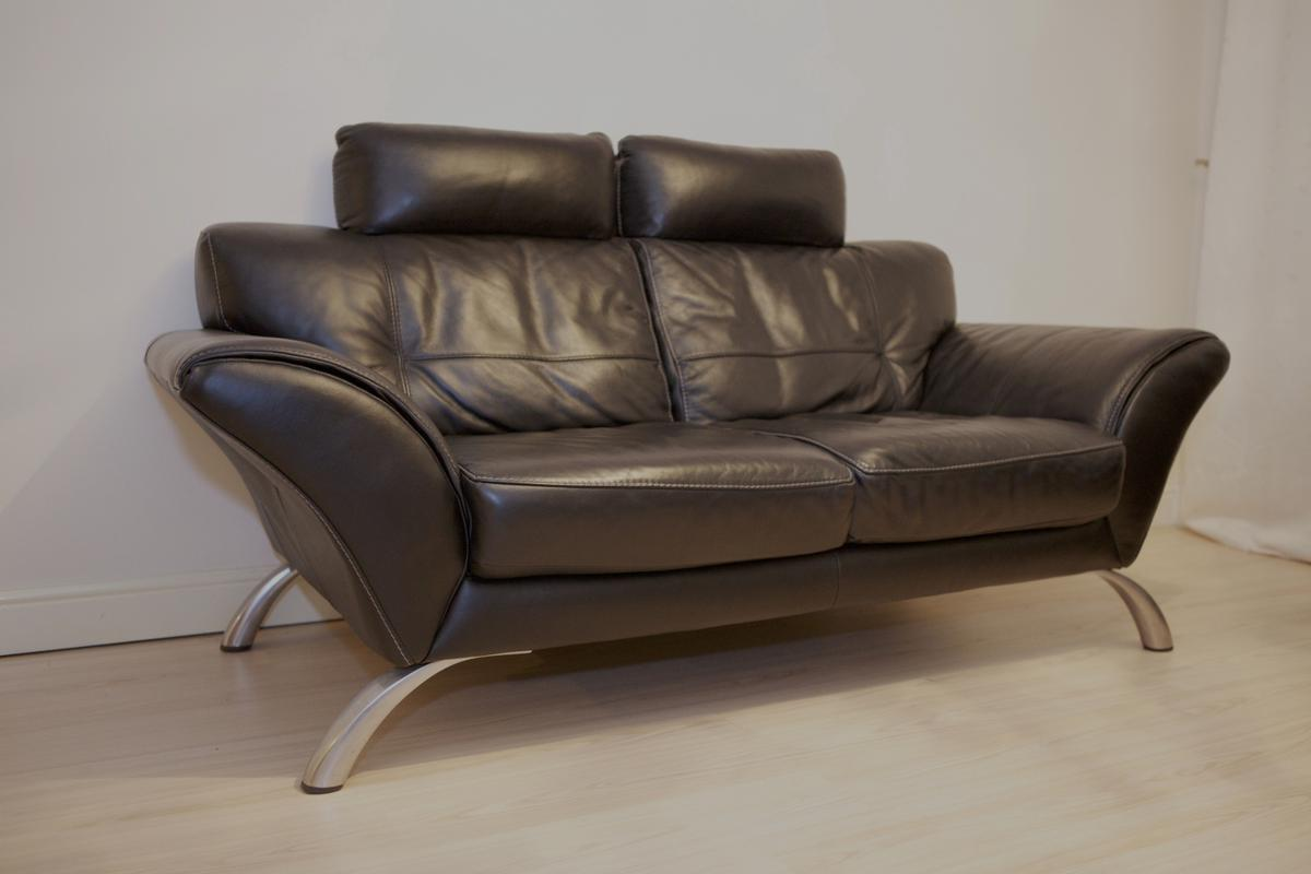 Stunning black leather two seater sofa