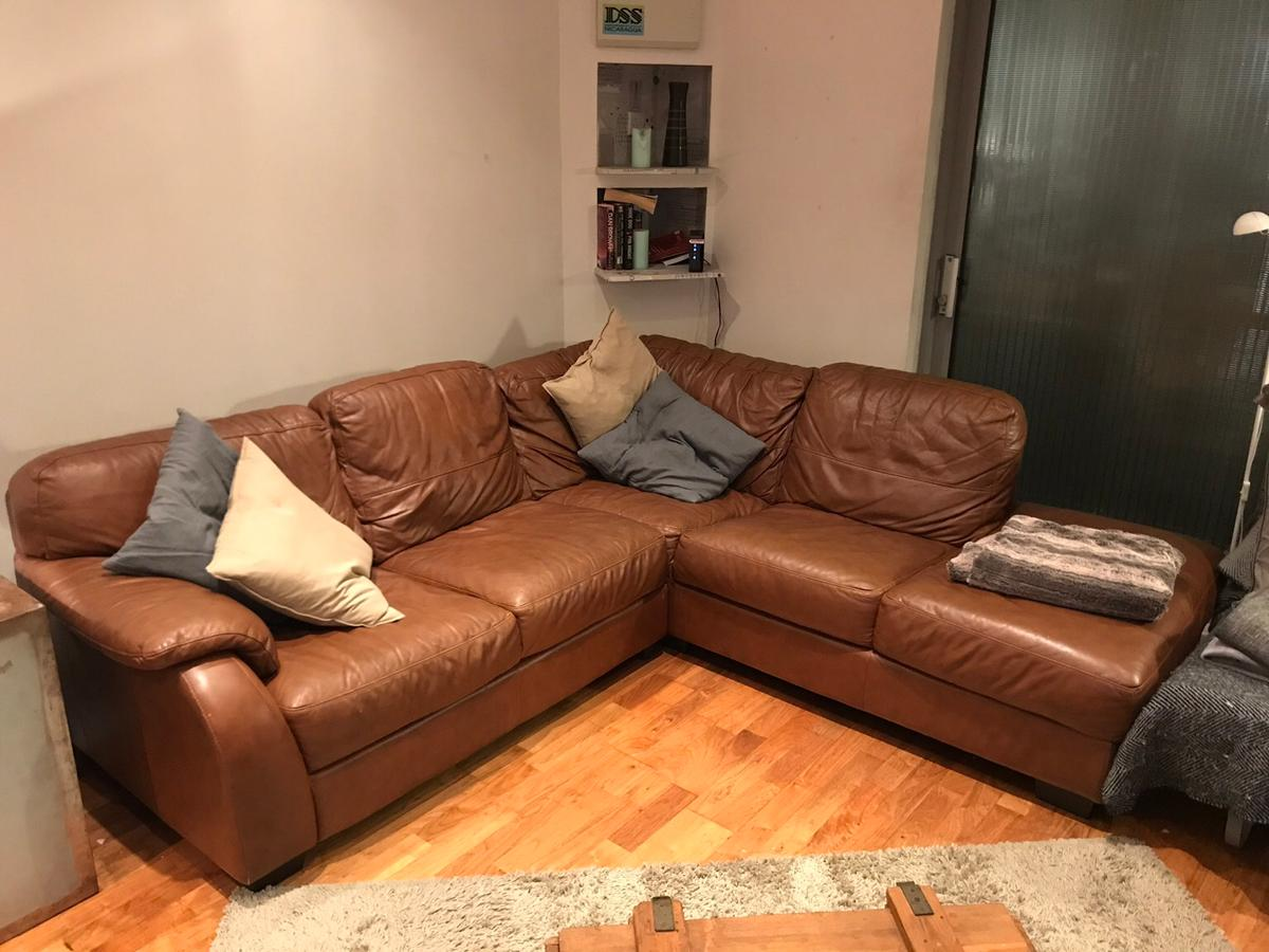 Brown leather L-shaped corner sofa in N16 Hackney for £150.00 for ...