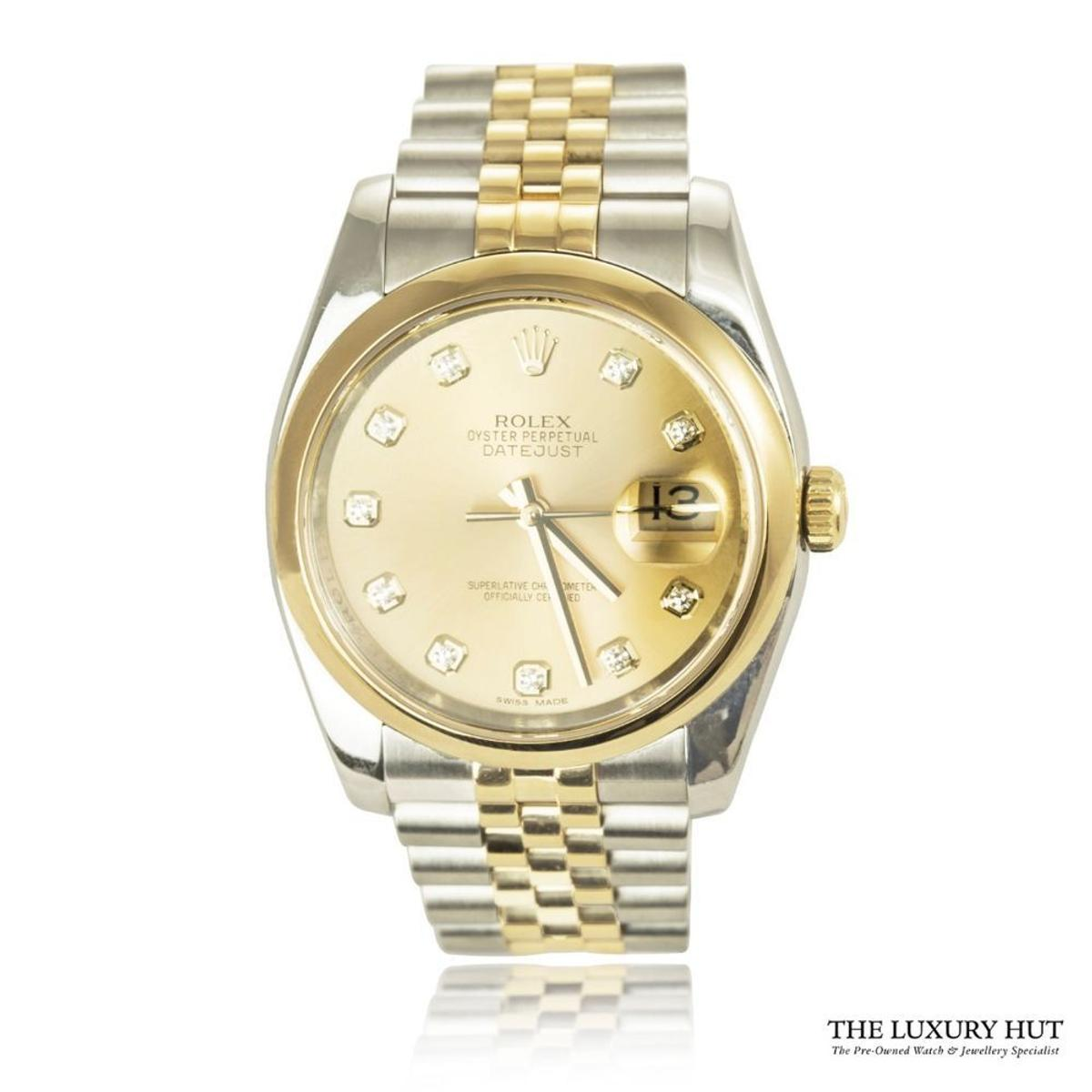 Rolex Bi Metal Oyster Datejust Diamond Watch