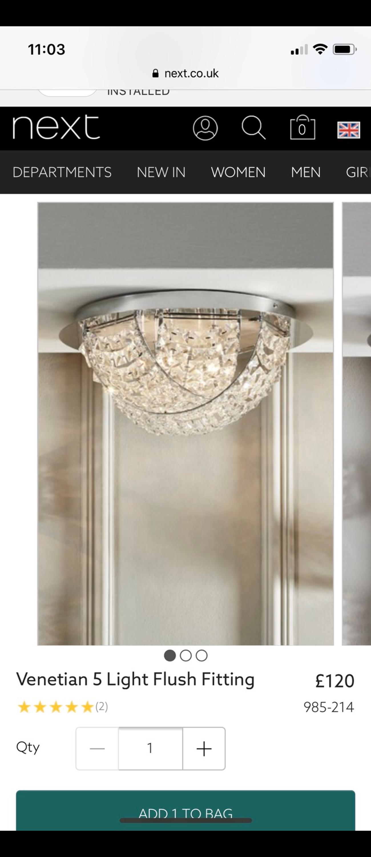 low priced bbf32 d9a68 Next Venetian 5 light flush fitting in clear in DE11 ...