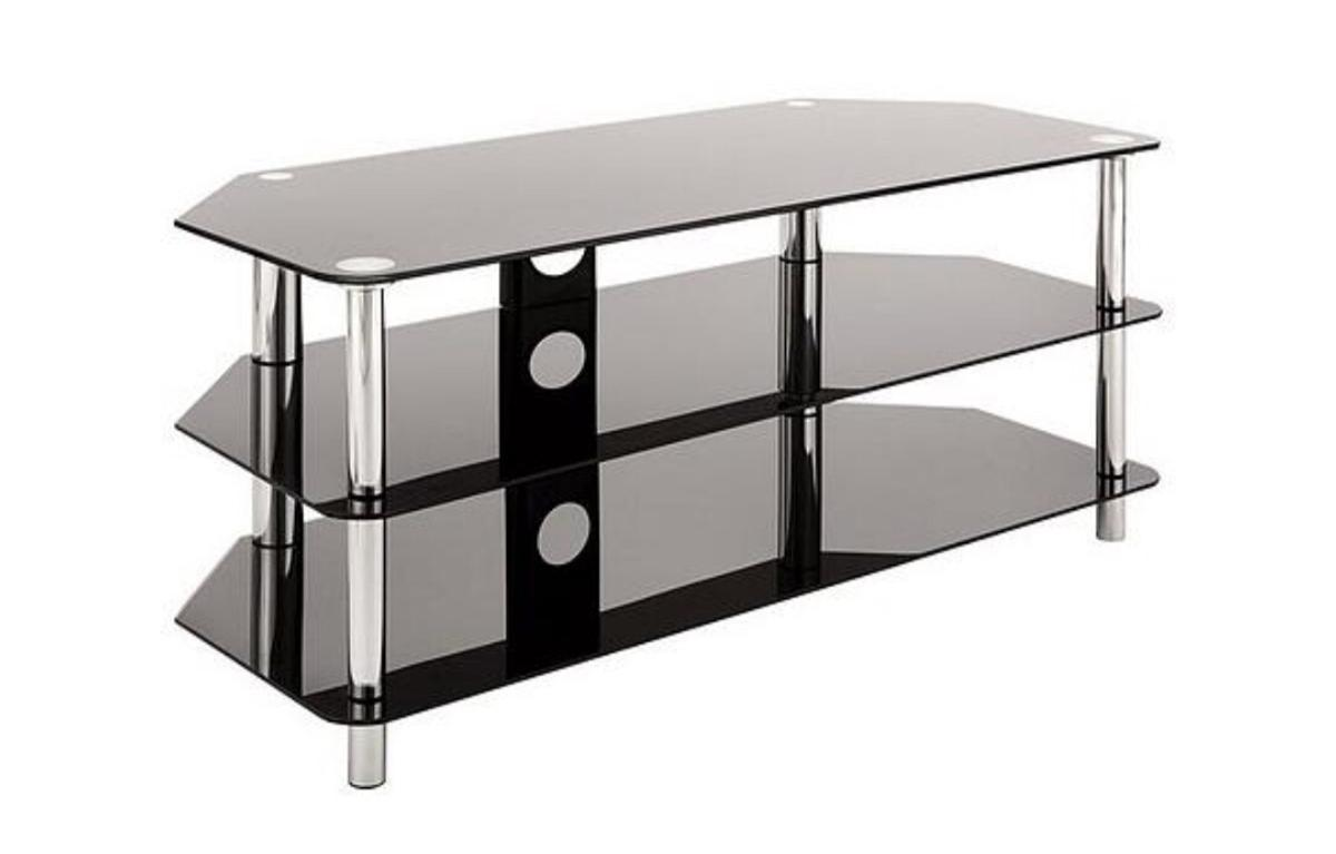 watch 21c8f 0066b Glass and chrome 3 tier TV stand