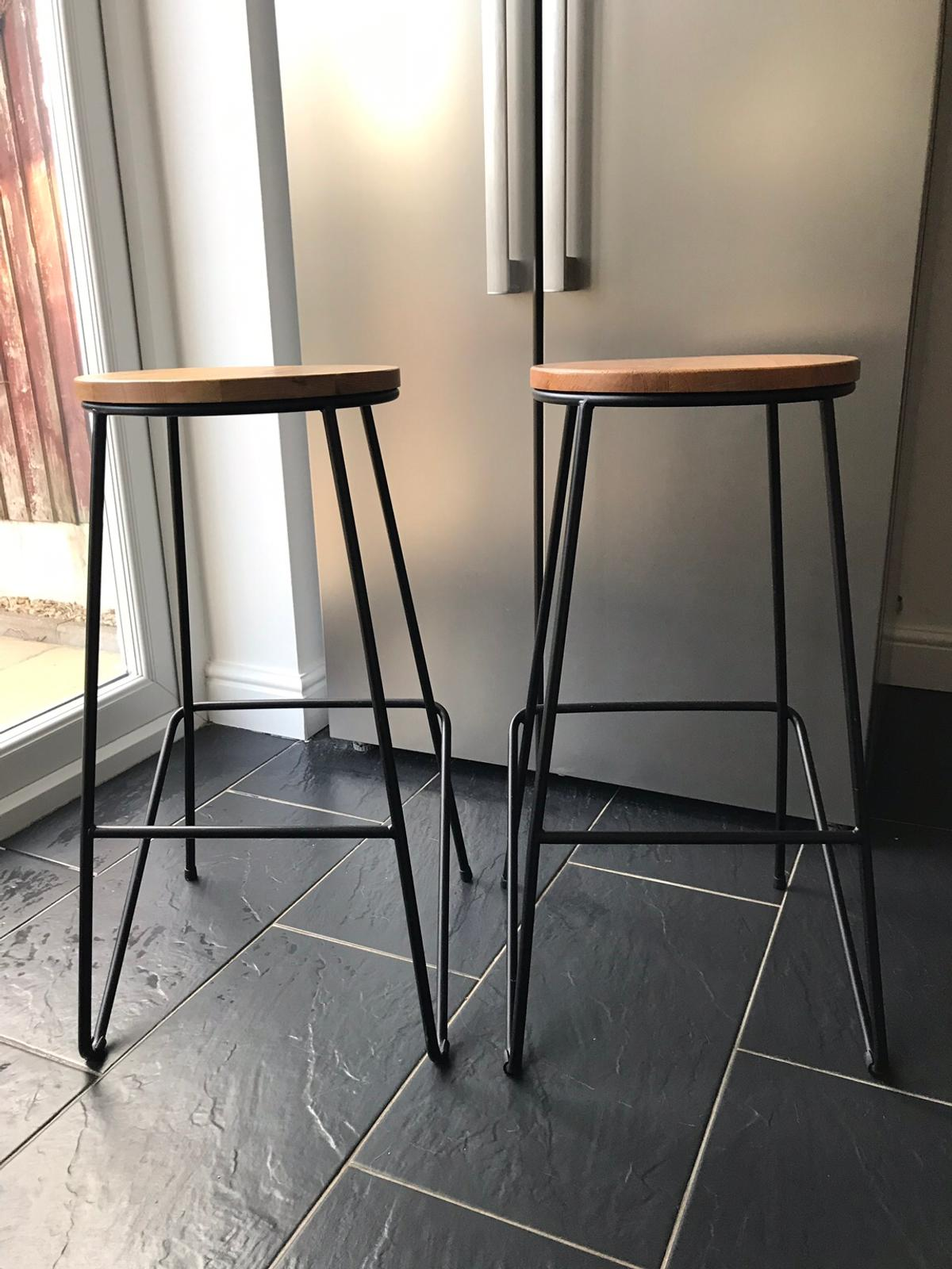 save off 6fcd4 7feab 2 Maloux Black and Oak Bar Stools