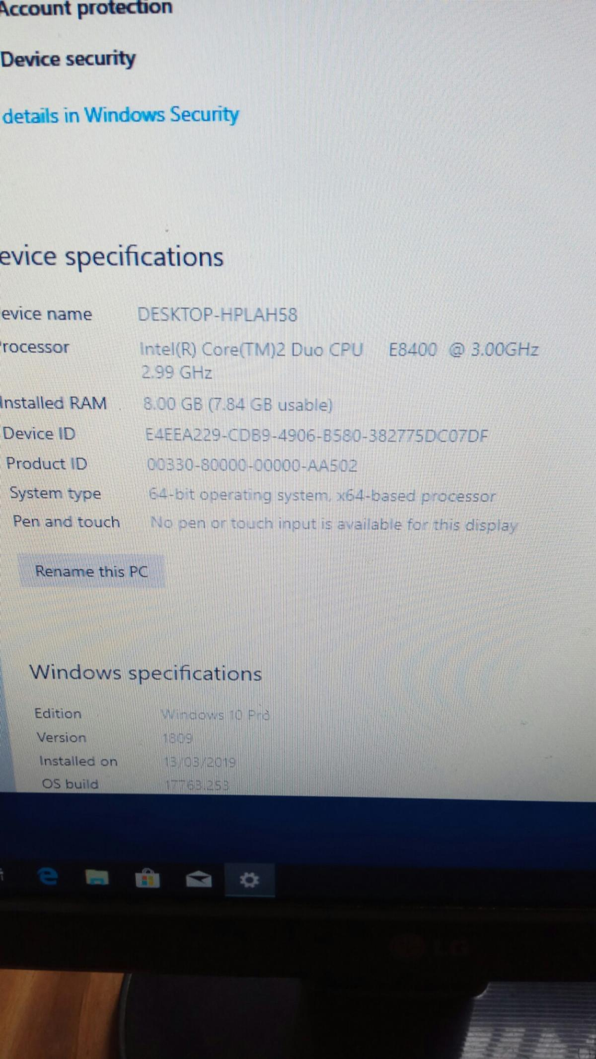 Intel dual core desktop pc (windows 10) in CH45 Wirral for