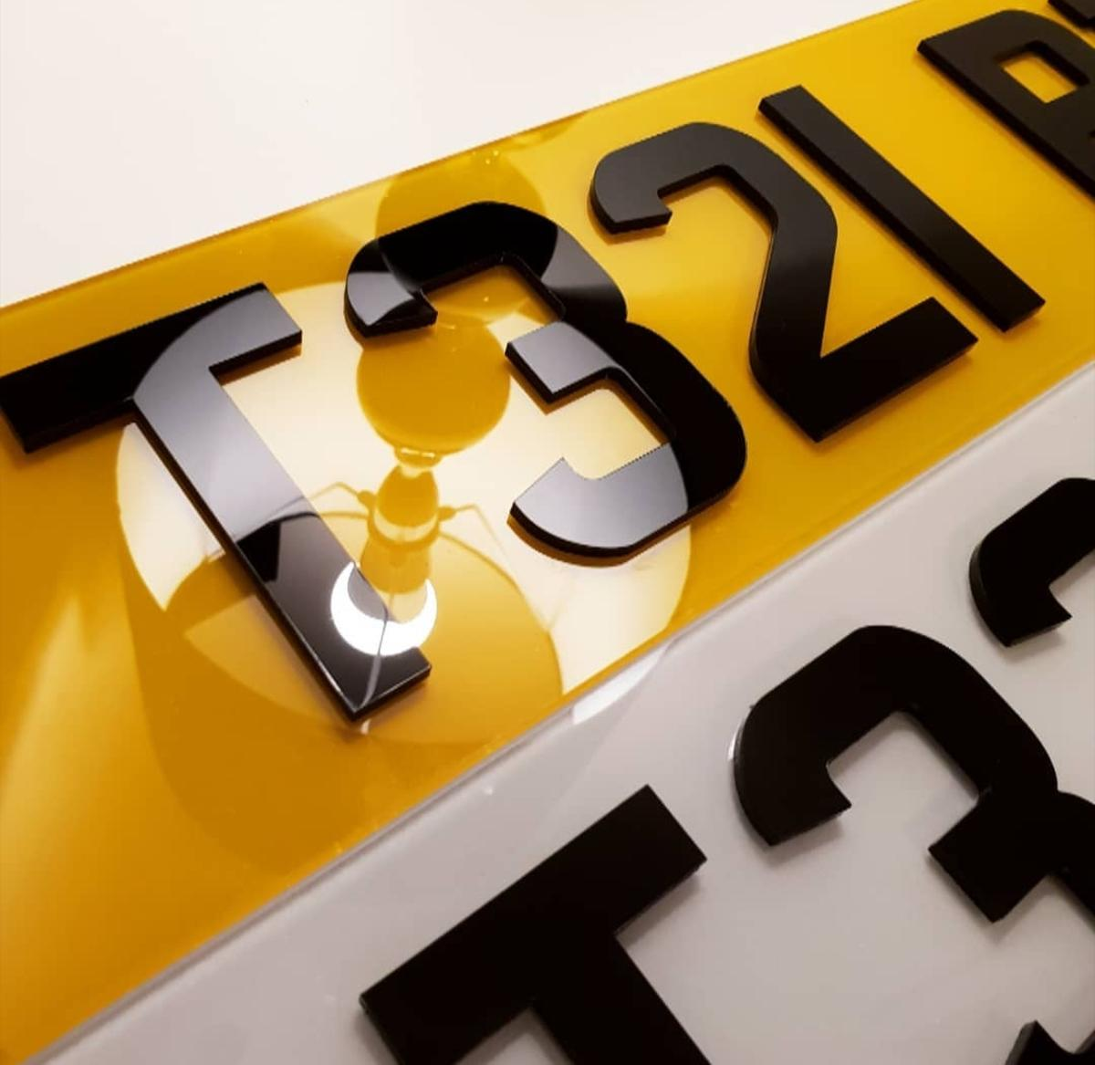 PAIR of 4D Black Acrylic /& Gel Number Plates Front /& Back