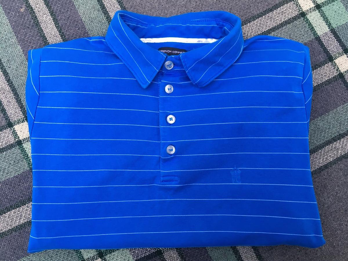 French Connection Mens Short Sleeve Stripe Cotton Polo Shirt