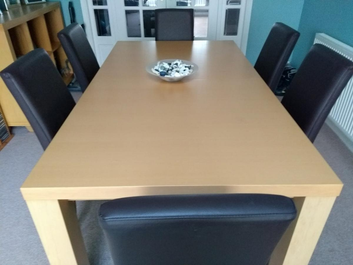 Large Dining table & 6 faux leather chairs