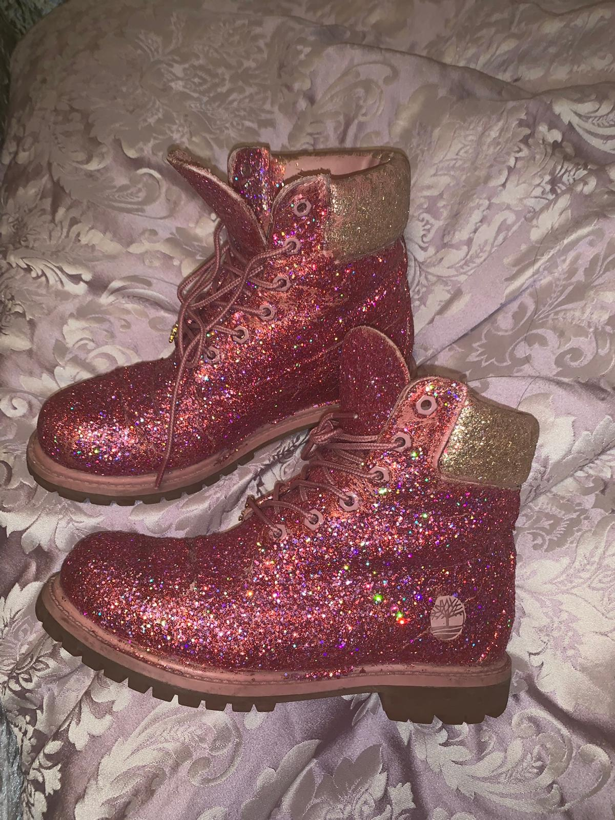One off pink Glitter timberland boots 5 in BB8 Pendle for