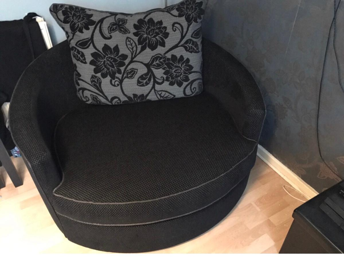 Large 2 Seater Sofa And Swivel Cuddle Chair