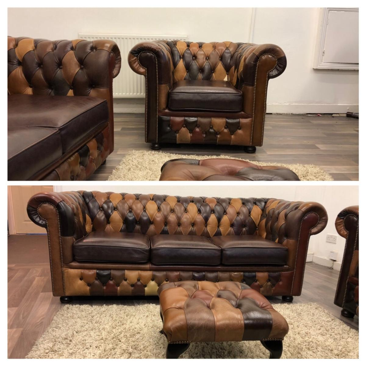 Tremendous Patchwork Chesterfield Real Leather Sofas In Bl1 Bolton For Home Interior And Landscaping Sapresignezvosmurscom