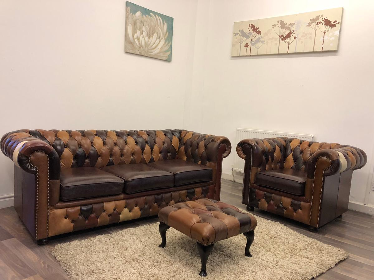 Fabulous Patchwork Chesterfield Real Leather Sofas In Bl1 Bolton For Home Interior And Landscaping Sapresignezvosmurscom