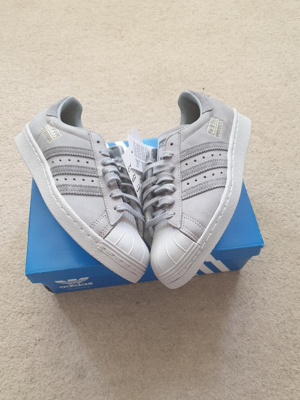 detailed look cf3c1 8758c Adidas superstar grey suede trainers sz 5 NEW in Burtonwood ...
