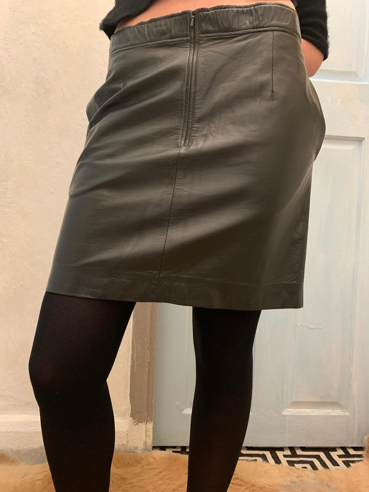 best deals on strong packing 2019 authentic Celine black leather knee skirt