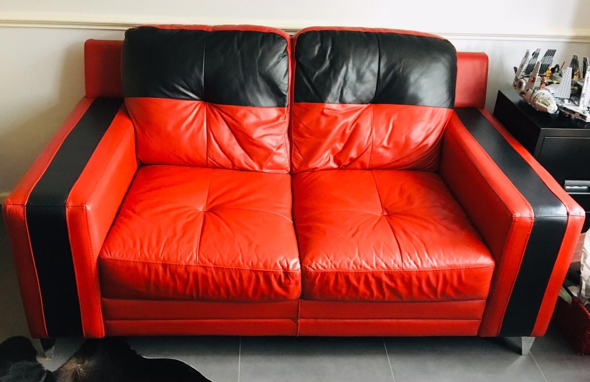 Red & Black Leather 2 seater sofa and chair