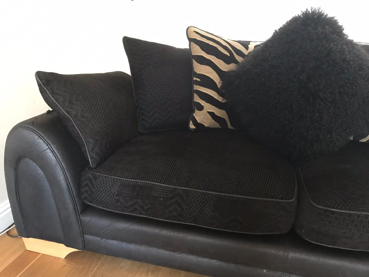3 Seater Leather Fabric Dfs Sofa In