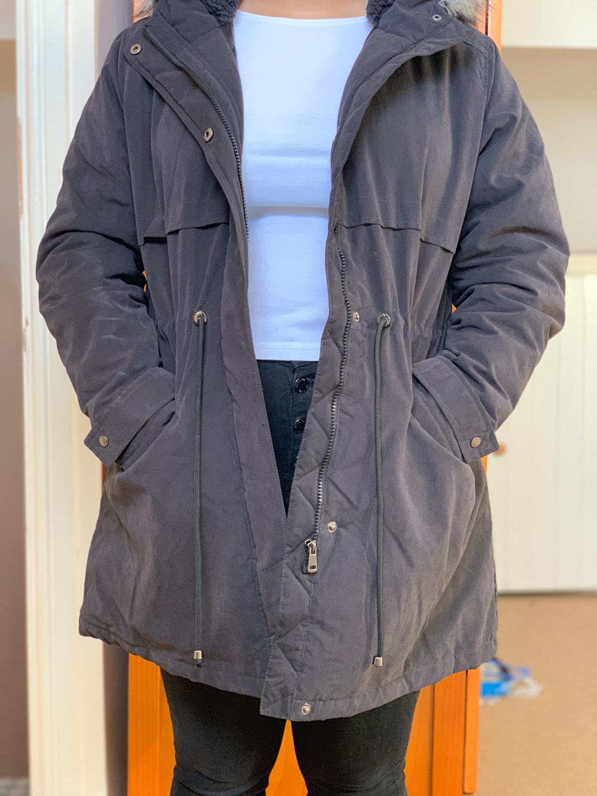 Womens Primark Winter Coat New Suze 8 Trench Parka Coat  Grey And Black