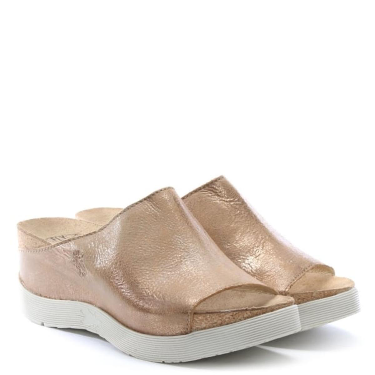 FLY LONDON Wigg Gold Wedge Mules Uk7 NEW