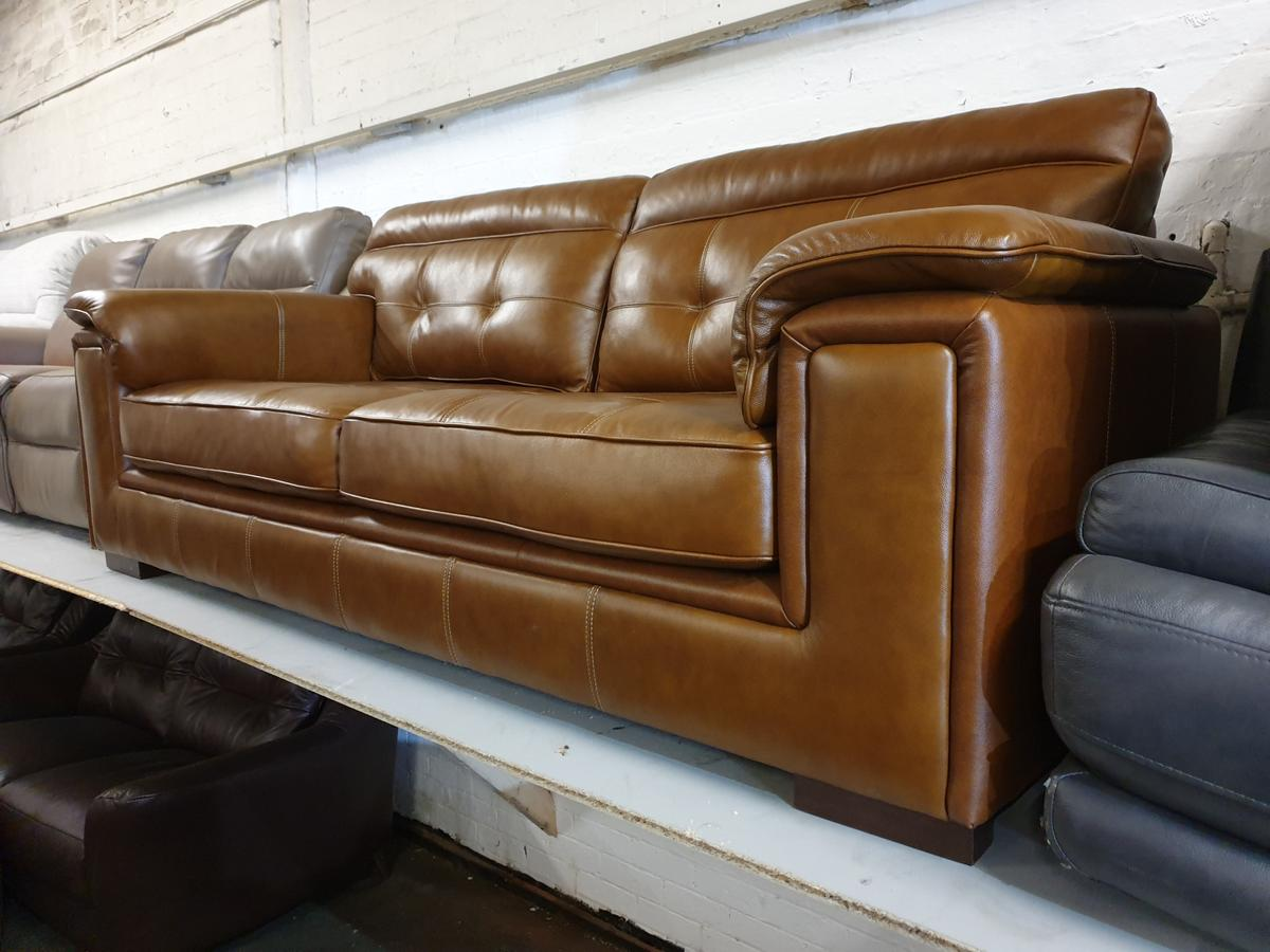 NEW SCS DUKE 3 SEATER SOFA TAN BROWN LEATHER in OL1 Oldham