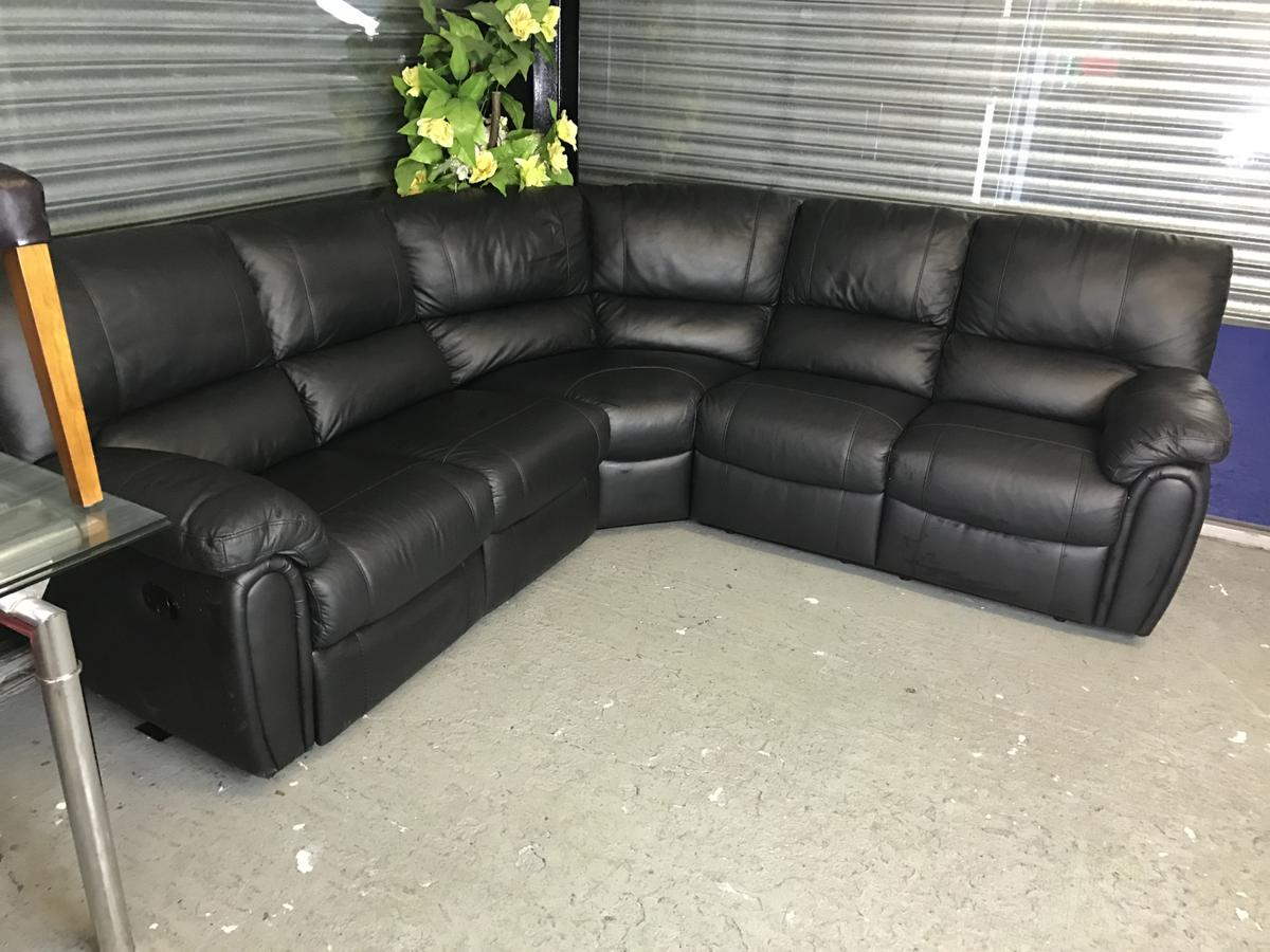 BLACK REAL LEATHER RECLINER CORNER SOFA in OL1 Oldham for ...